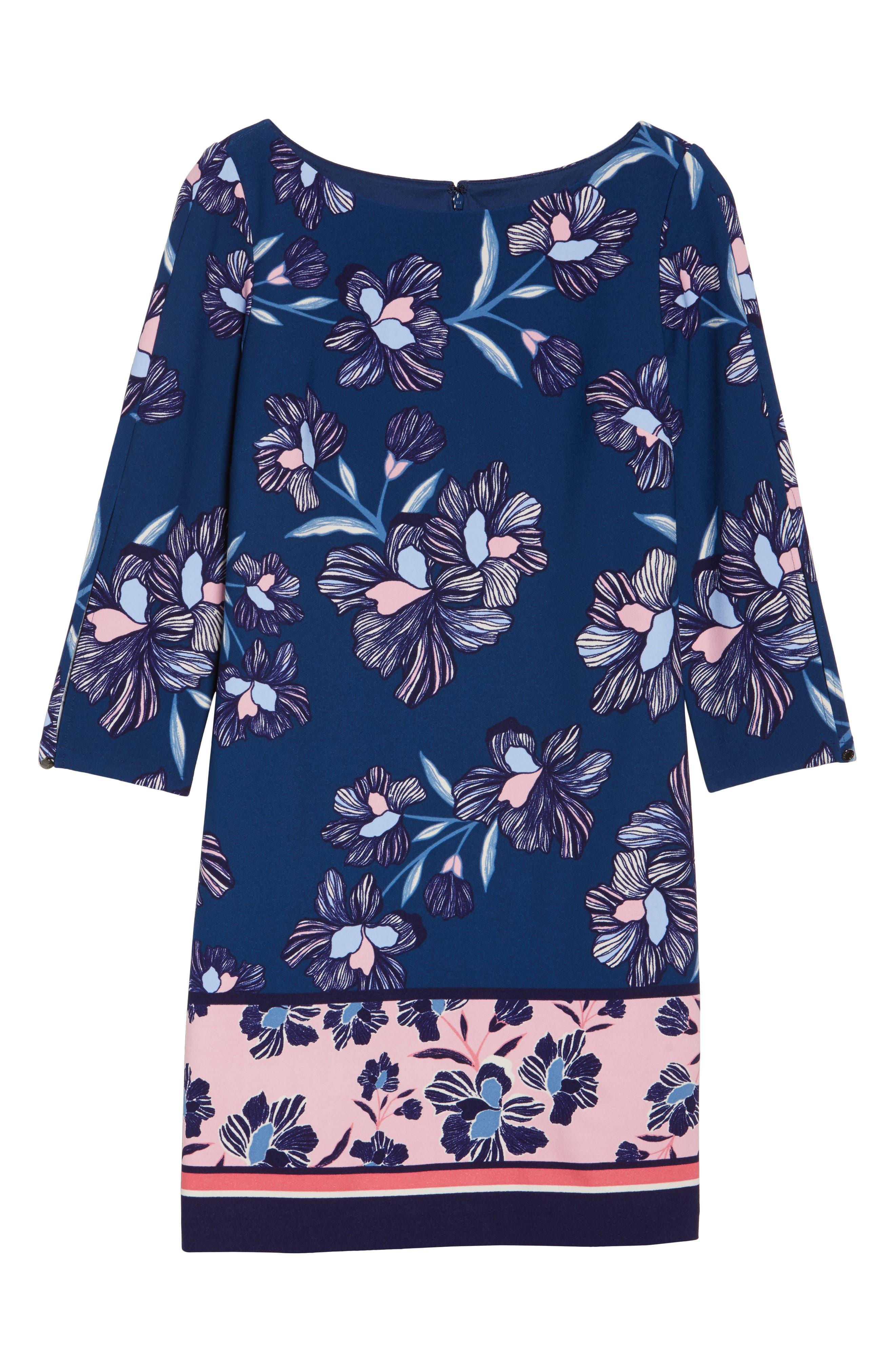 Floral Print Crepe Shift Dress,                             Alternate thumbnail 6, color,                             Navy Multi