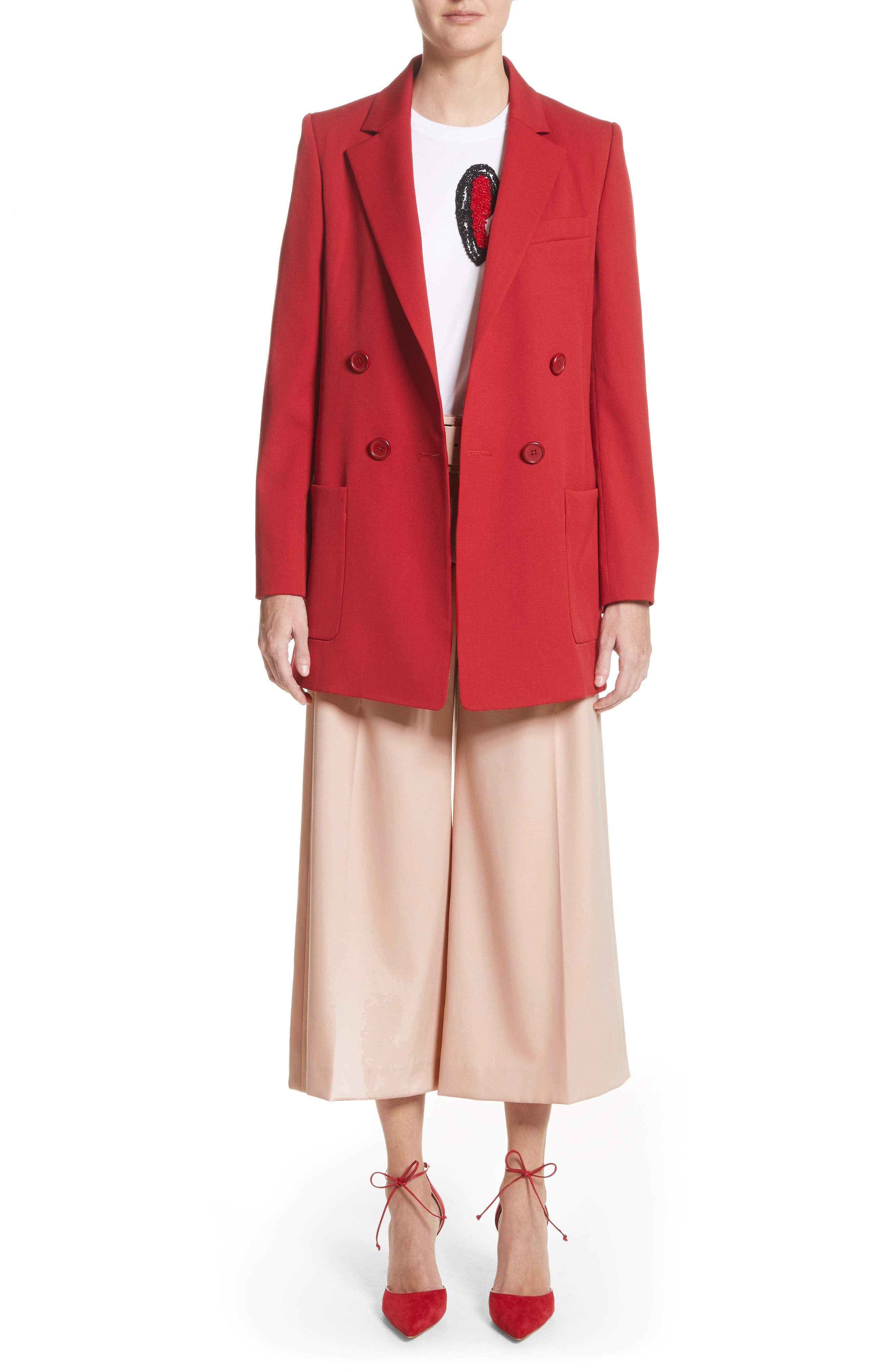 Alternate Image 8  - Oscar de la Renta Stretch Wool Gabardine Culottes