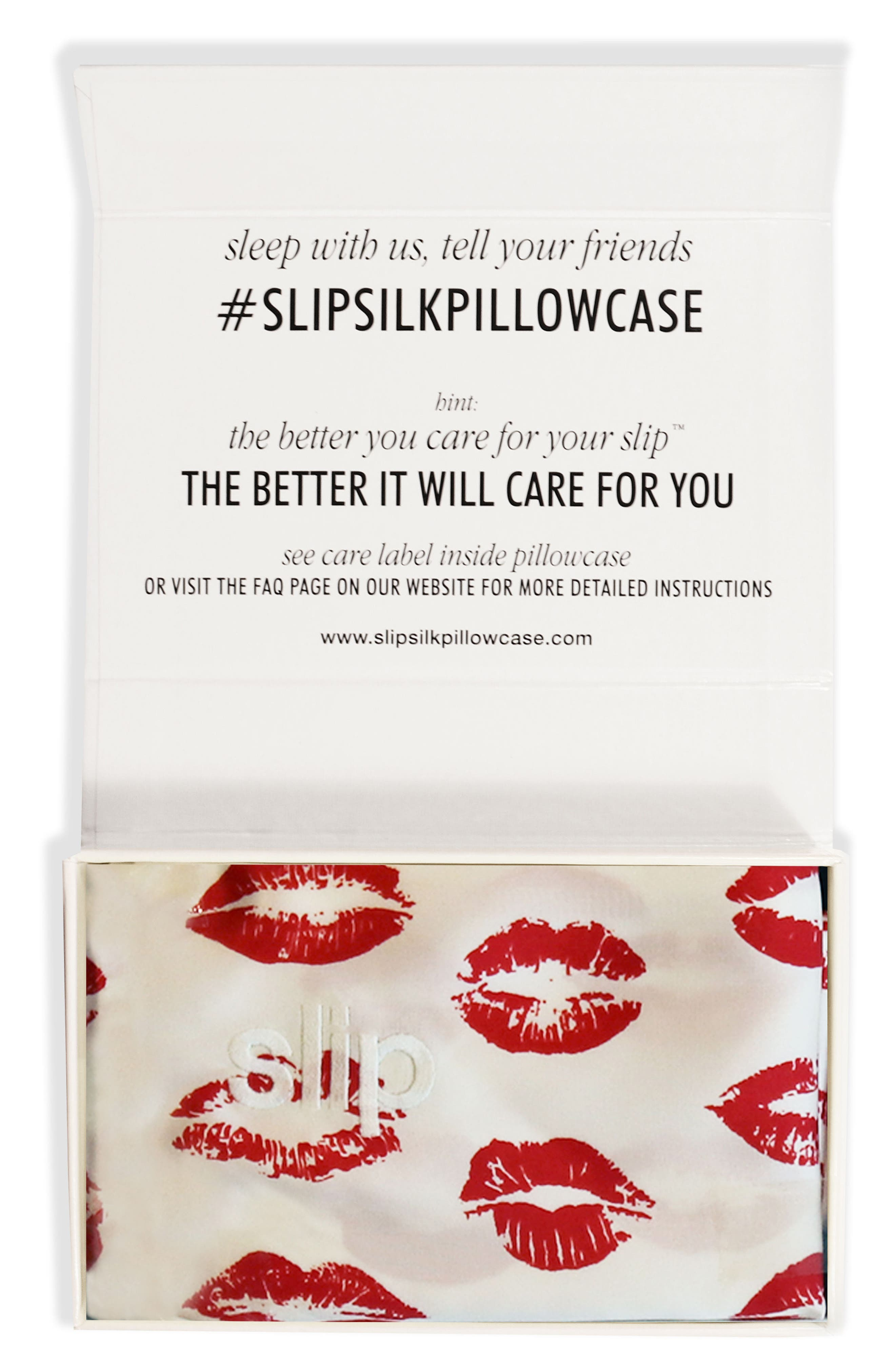 slip<sup>™</sup> for beauty sleep Slipsilk<sup>™</sup> Red Kisses Pure Silk Pillowcase,                             Main thumbnail 1, color,                             Red Kisses