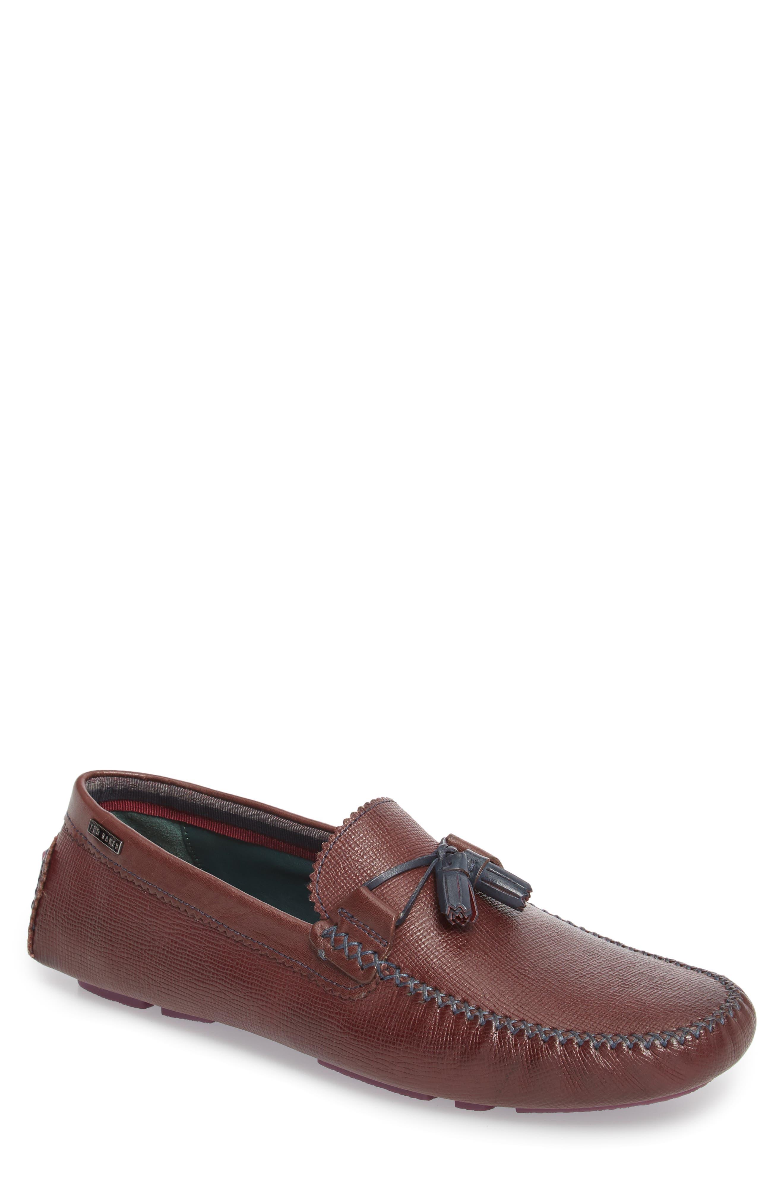 Urbonn Tasseled Driving Loafer,                             Main thumbnail 1, color,                             Dark Red Leather