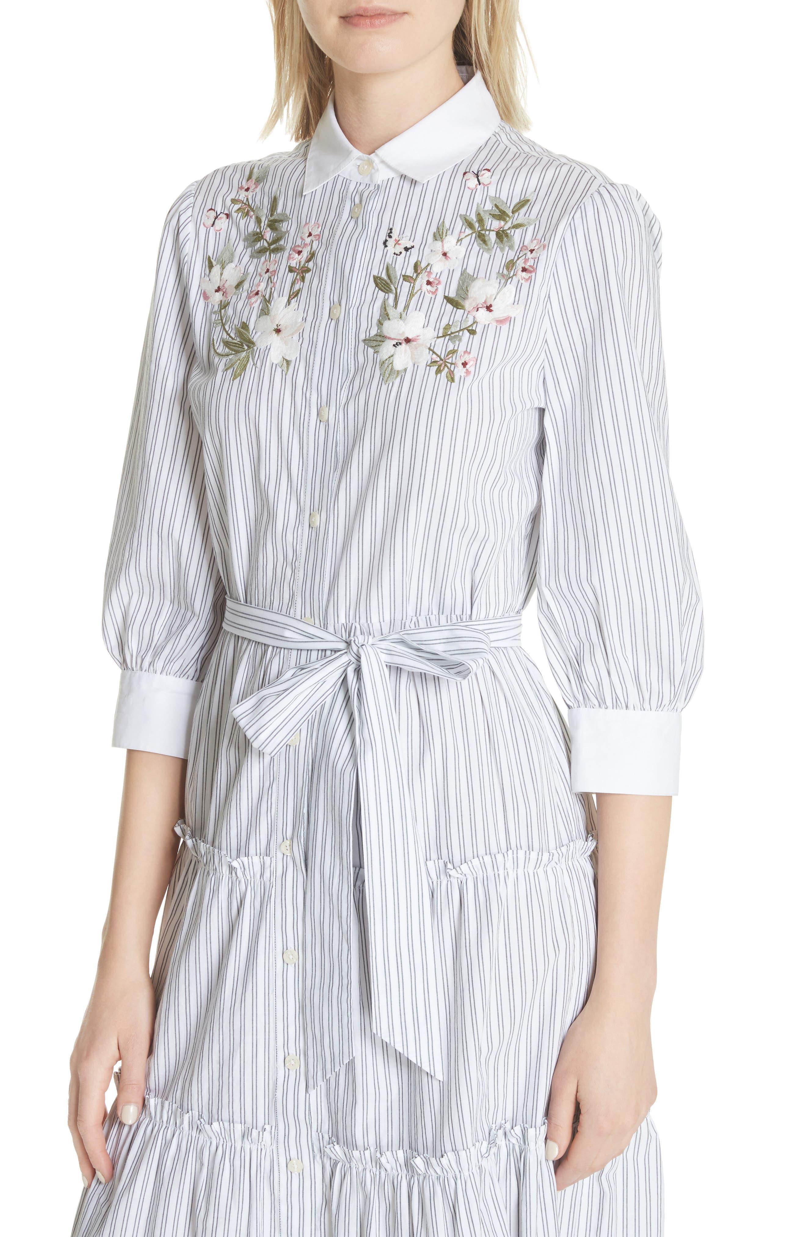 embroidered ruffle trim shirtdress,                             Alternate thumbnail 4, color,                             Fresh White/ Black