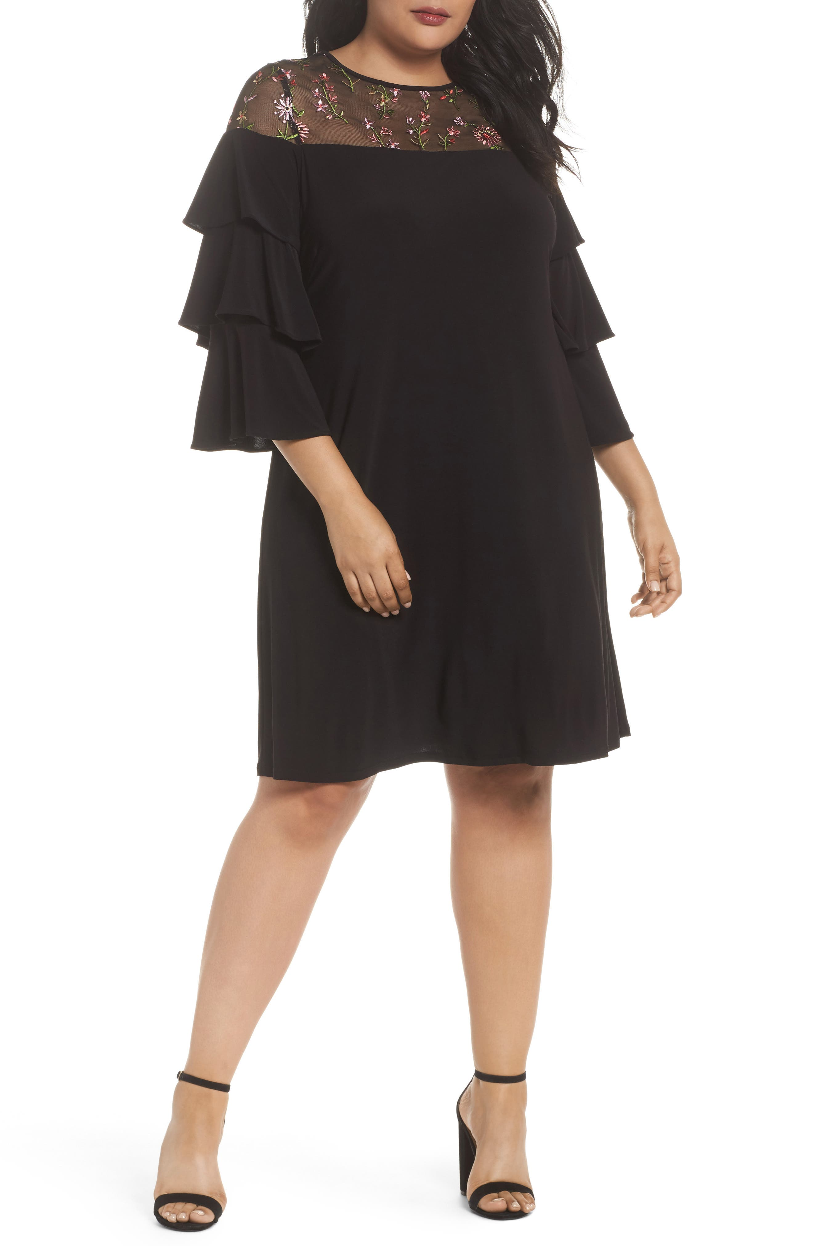 Ruffled Sleeve Embroidered Yoke A-Line Dress,                             Main thumbnail 1, color,                             Black/ Coral