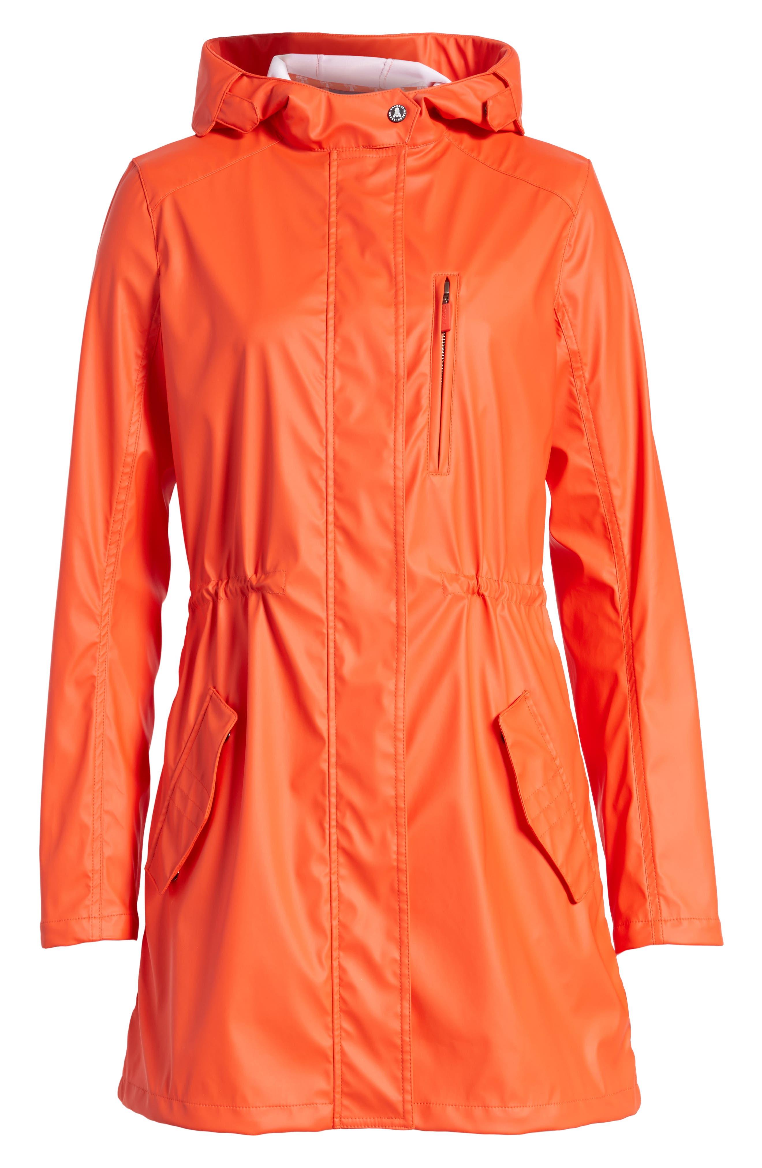 Harbour Hooded Jacket,                             Alternate thumbnail 6, color,                             Signal Orange