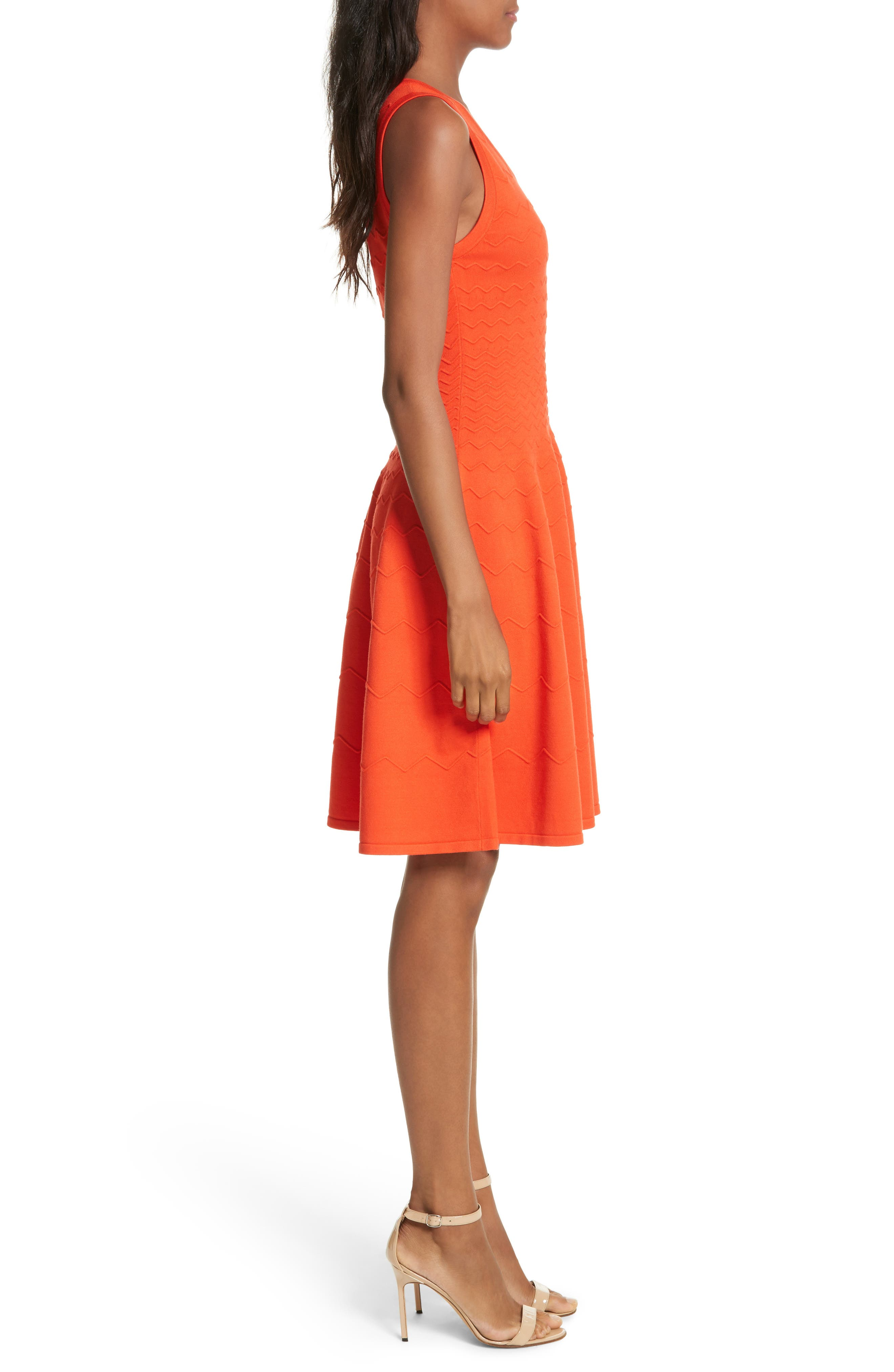 Dégradé Chevron Fit & Flare Dress,                             Alternate thumbnail 3, color,                             Poppy
