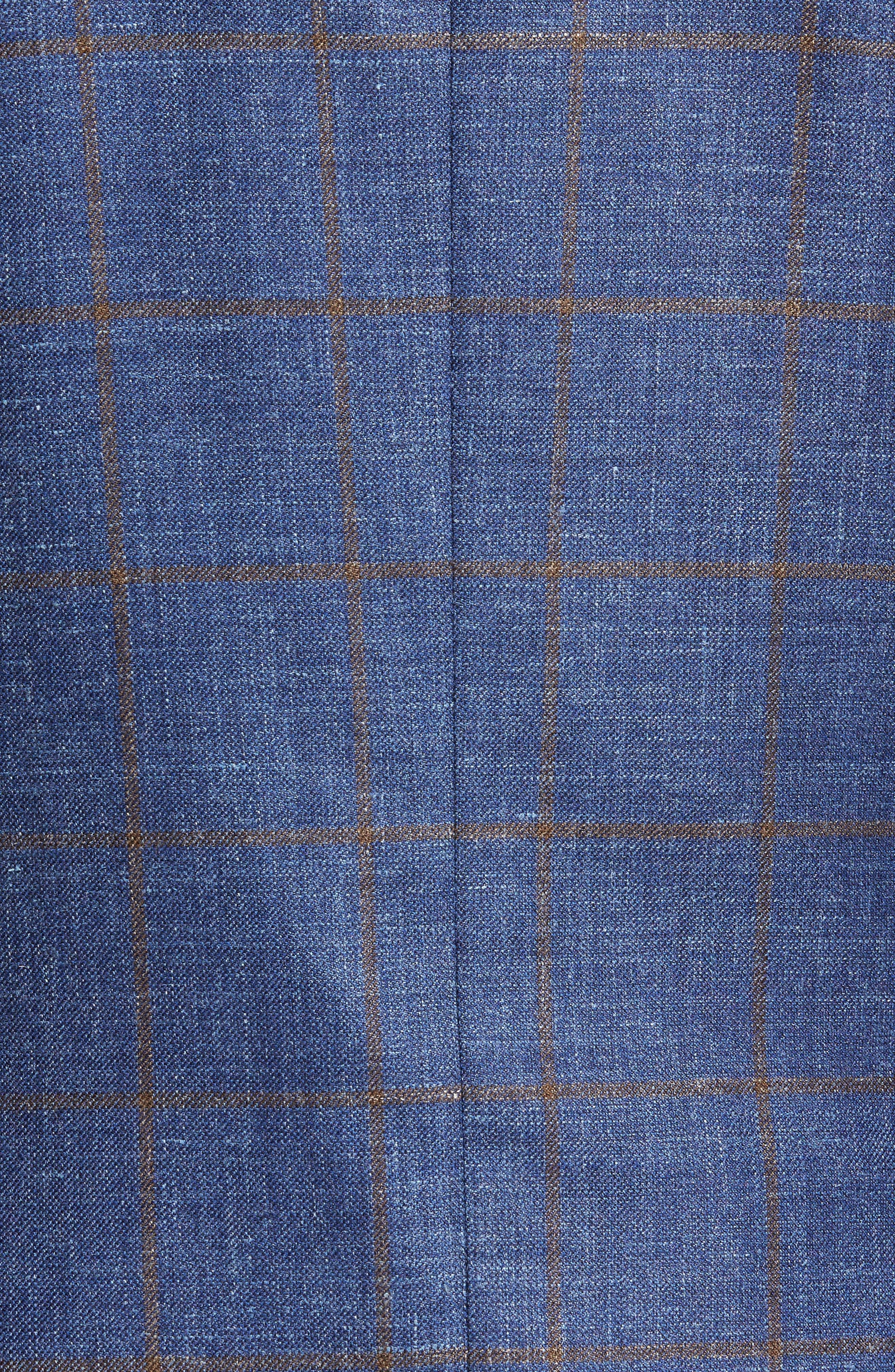 Classic Fit Windowpane Wool Blend Sport Coat,                             Alternate thumbnail 5, color,                             Navy