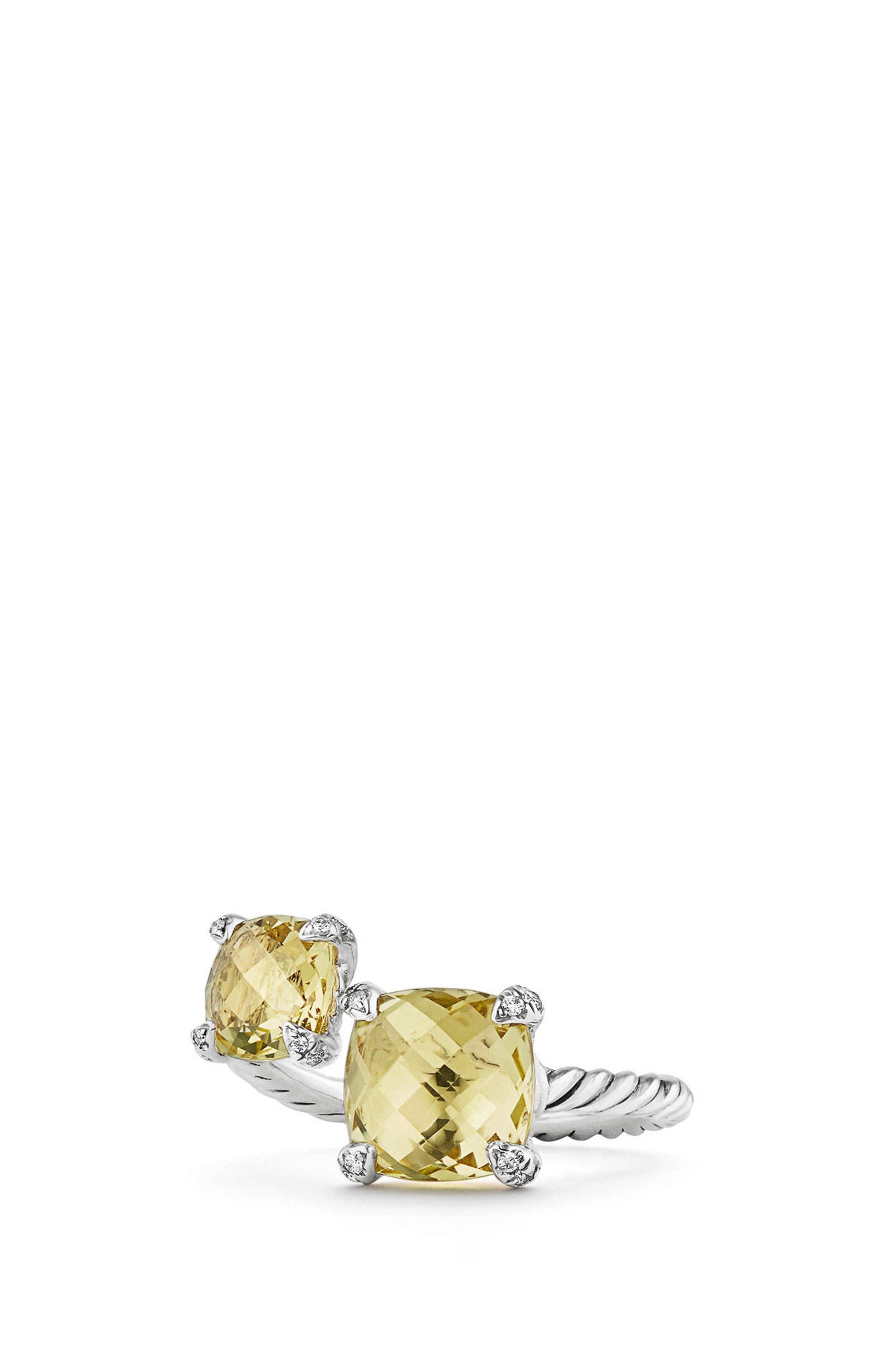 Châtelaine Bypass Ring with Diamonds,                         Main,                         color, Lemon Citrine?