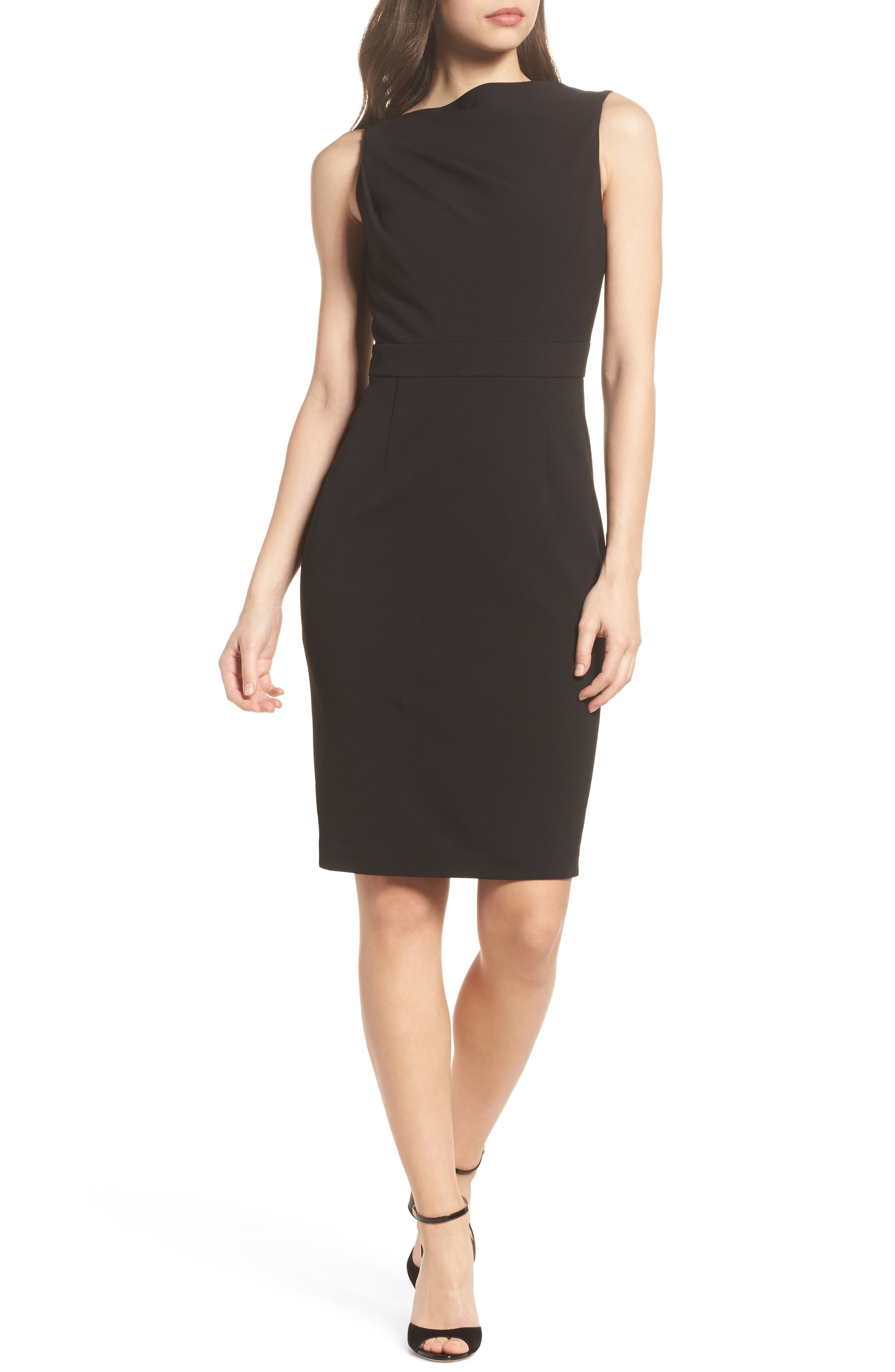 High Neck Sheath Dress,                         Main,                         color, Black