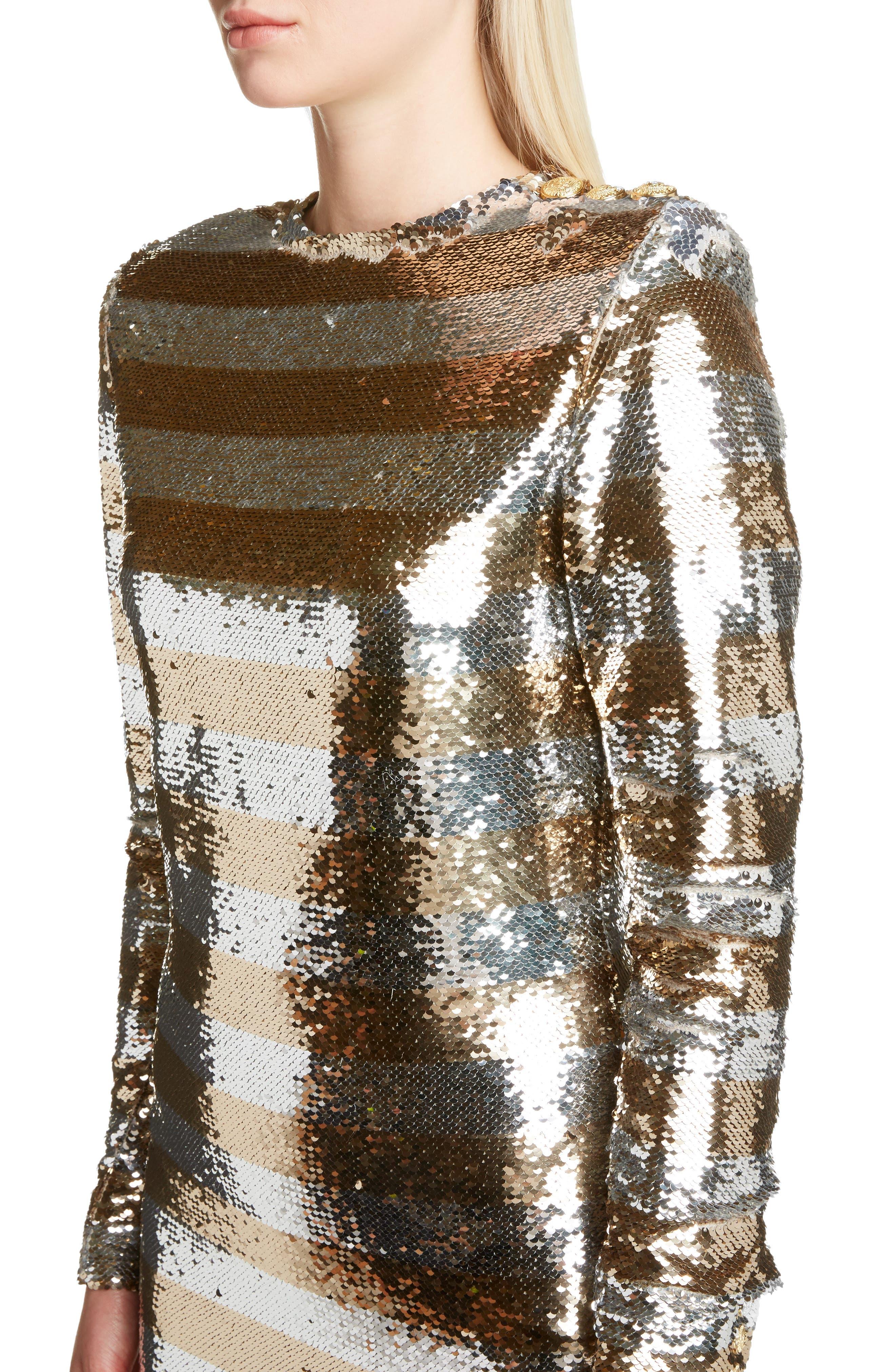 Sequin Stripe Minidress,                             Alternate thumbnail 4, color,                             Argent Dore
