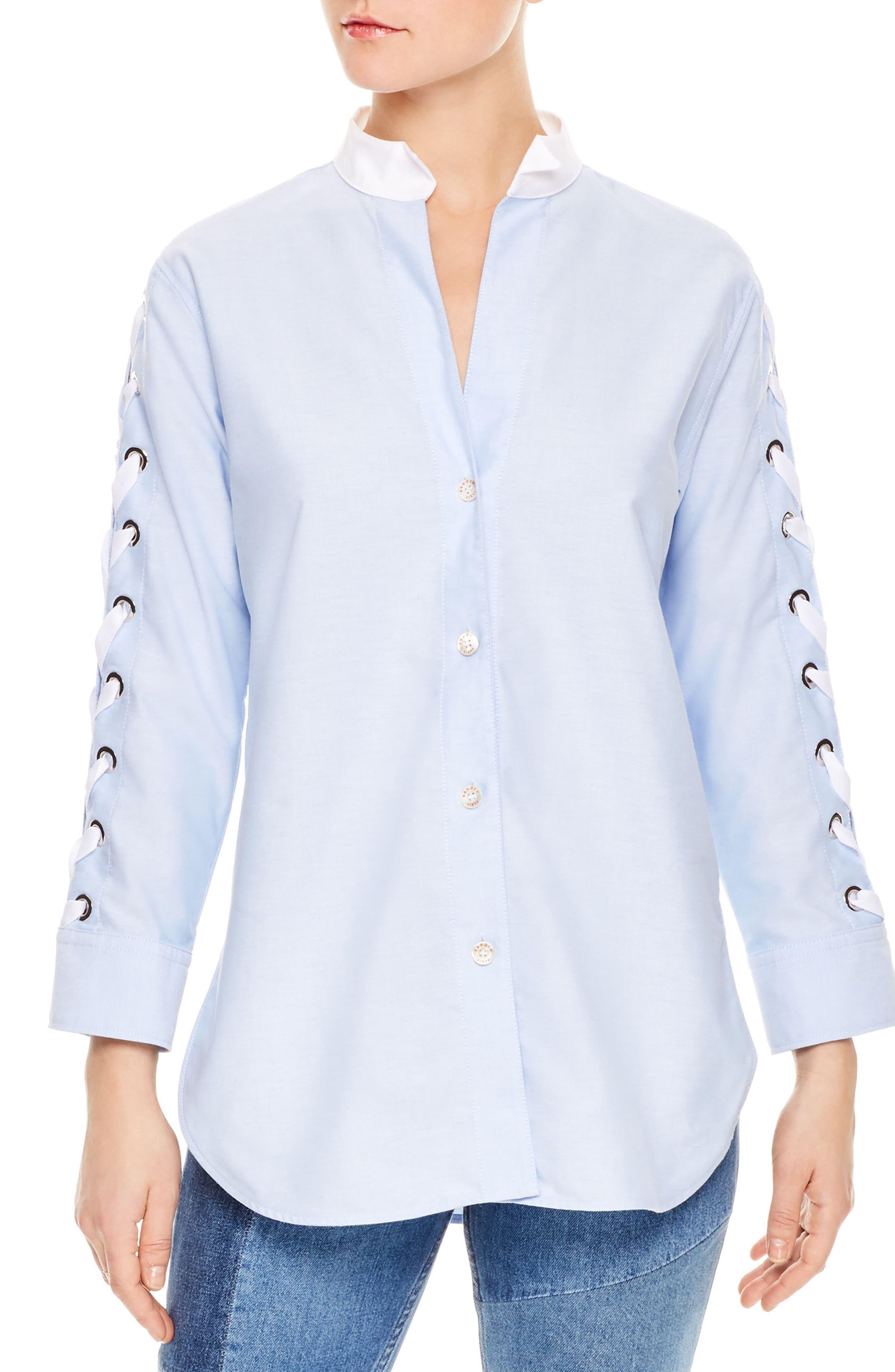 Lace-Up Sleeve Cotton Shirt,                             Main thumbnail 1, color,                             Sky Blue