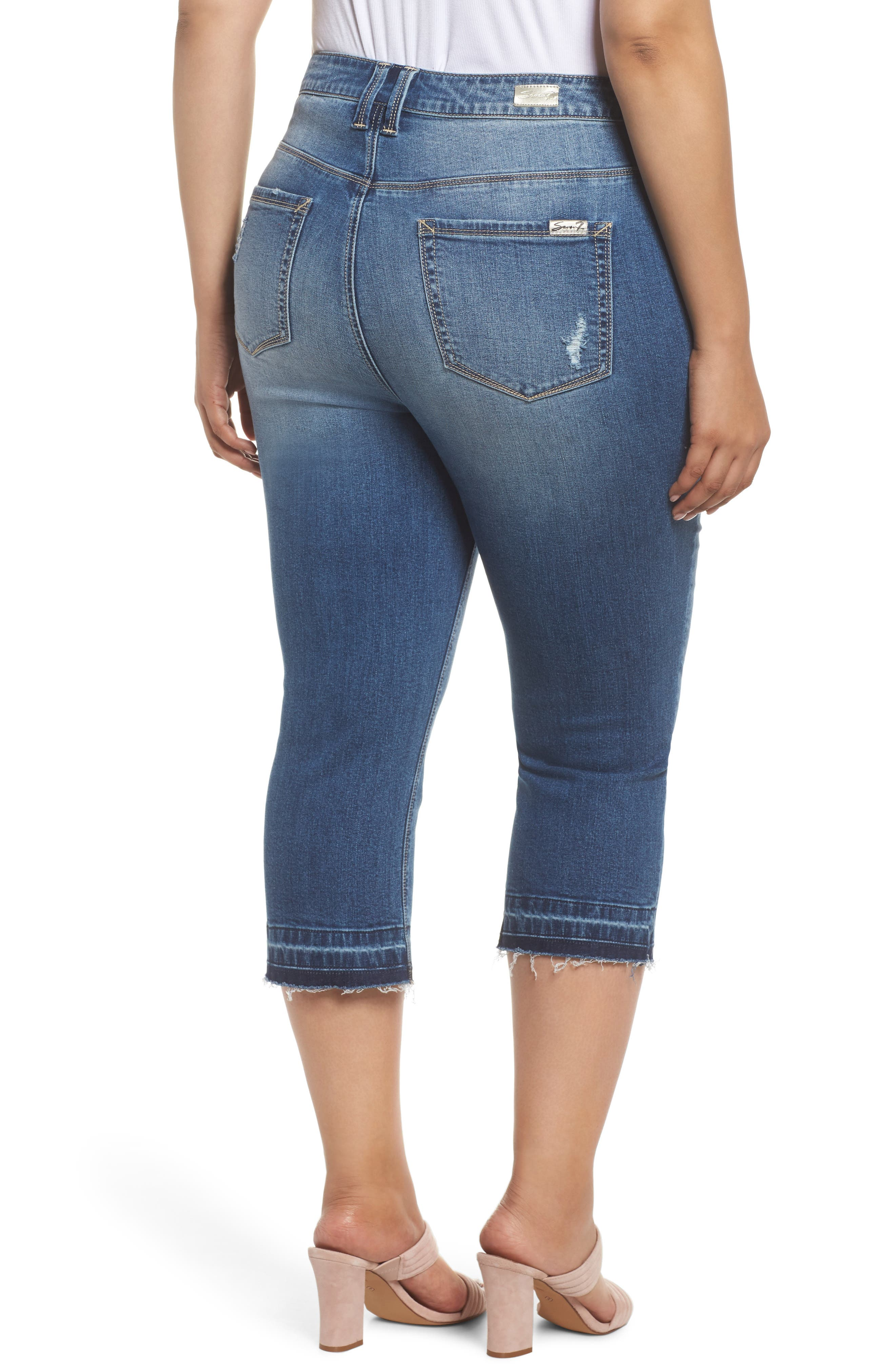 Star Patched Straight Leg Crop Jeans,                             Alternate thumbnail 2, color,                             Capri