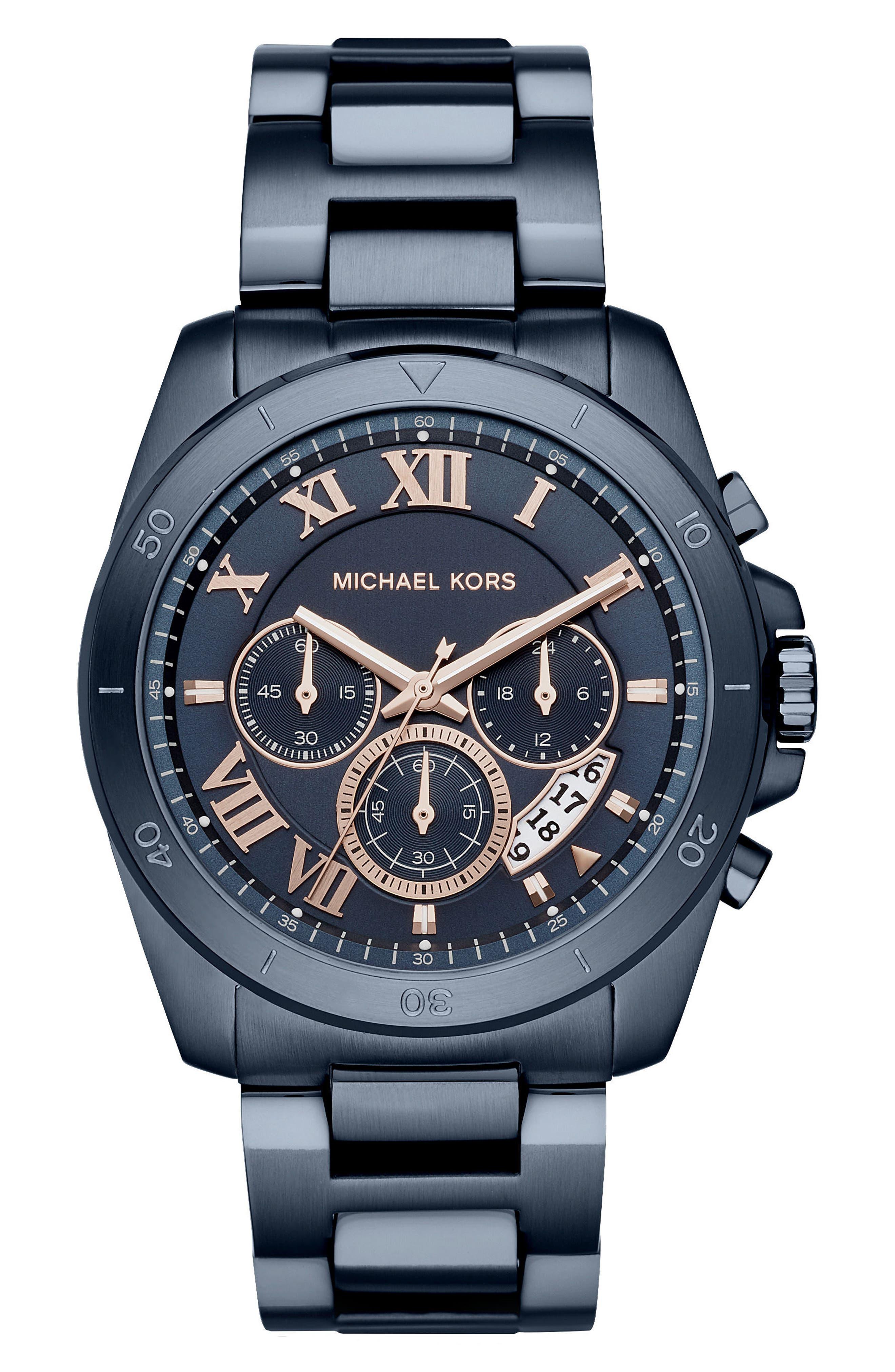 Brecken Chronograph Bracelet Watch, 44mm,                         Main,                         color, Blue