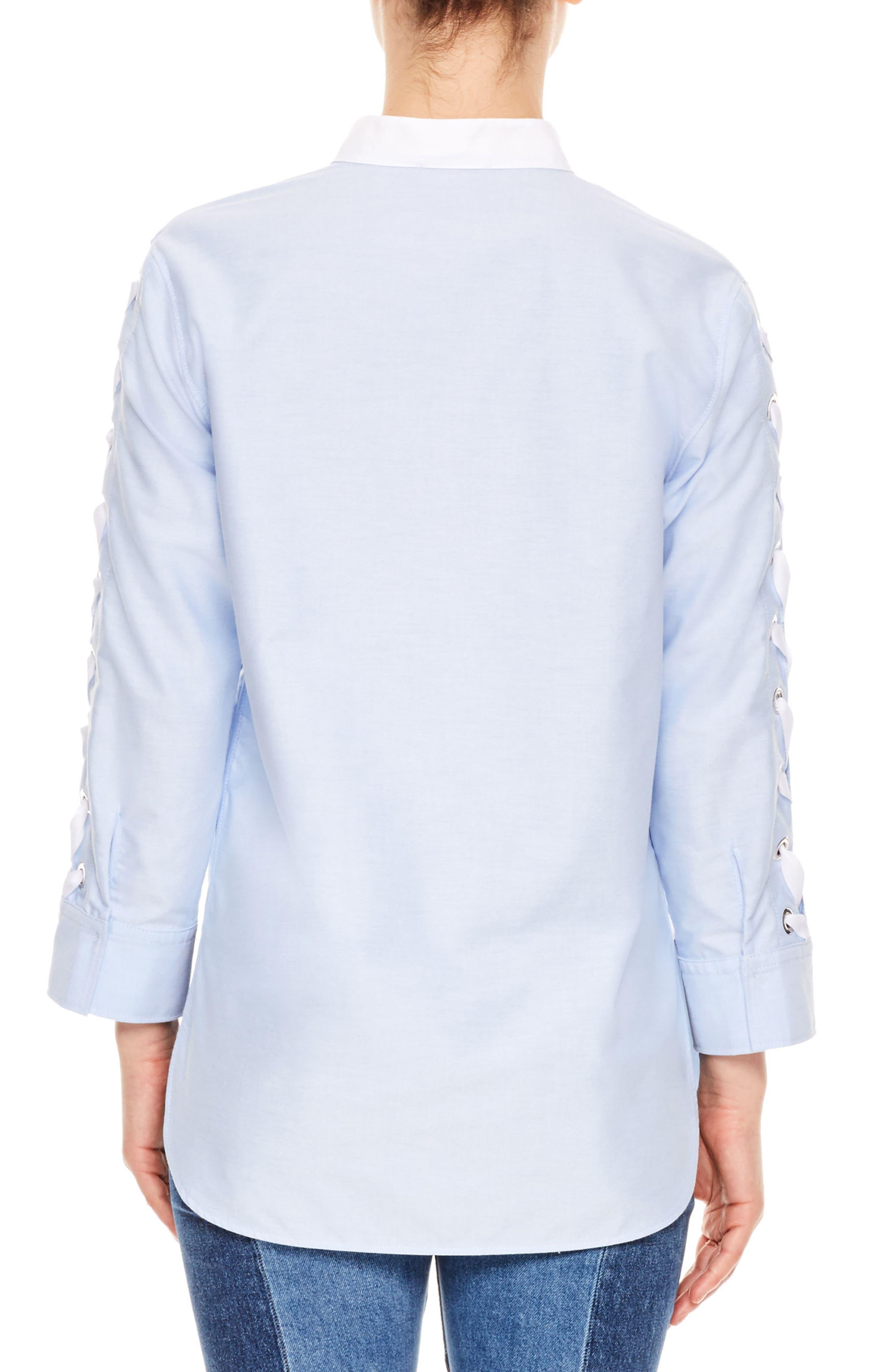 Lace-Up Sleeve Cotton Shirt,                             Alternate thumbnail 2, color,                             Sky Blue