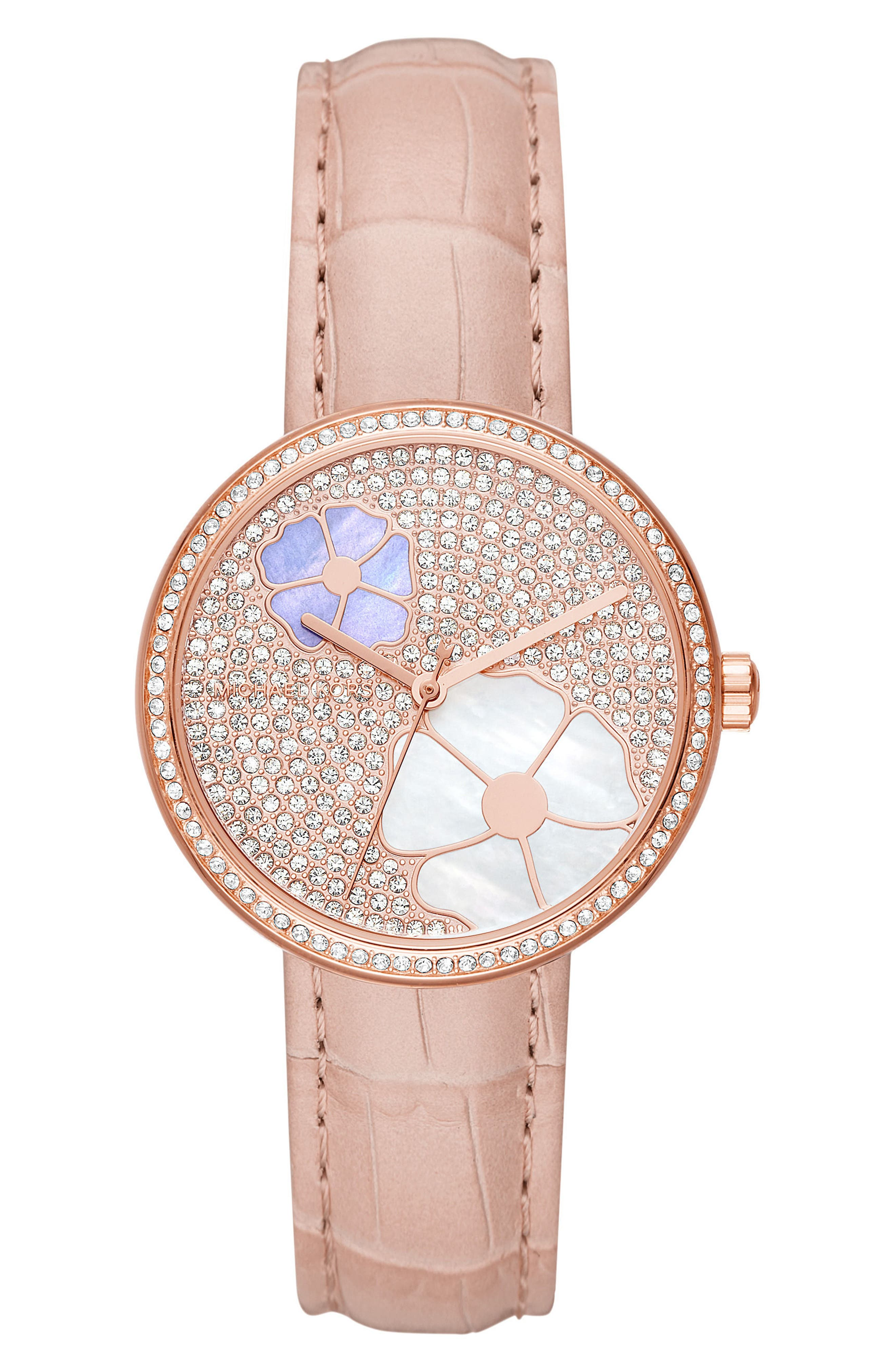 Courtney Crystal Leather Strap Watch, 36mm,                         Main,                         color, Pink/ Rose Gold