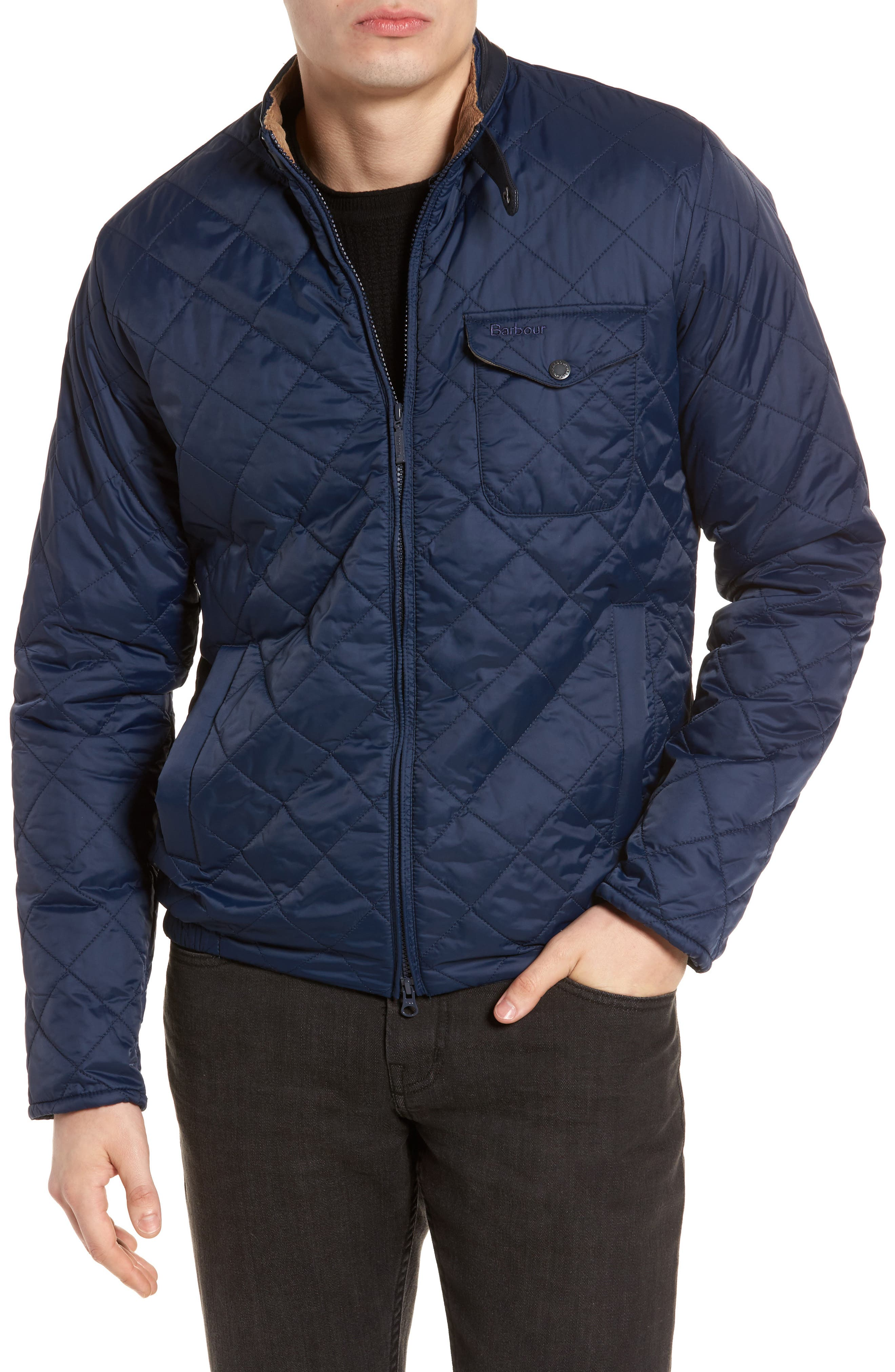 Ard Quilted Jacket,                         Main,                         color, Royal Navy