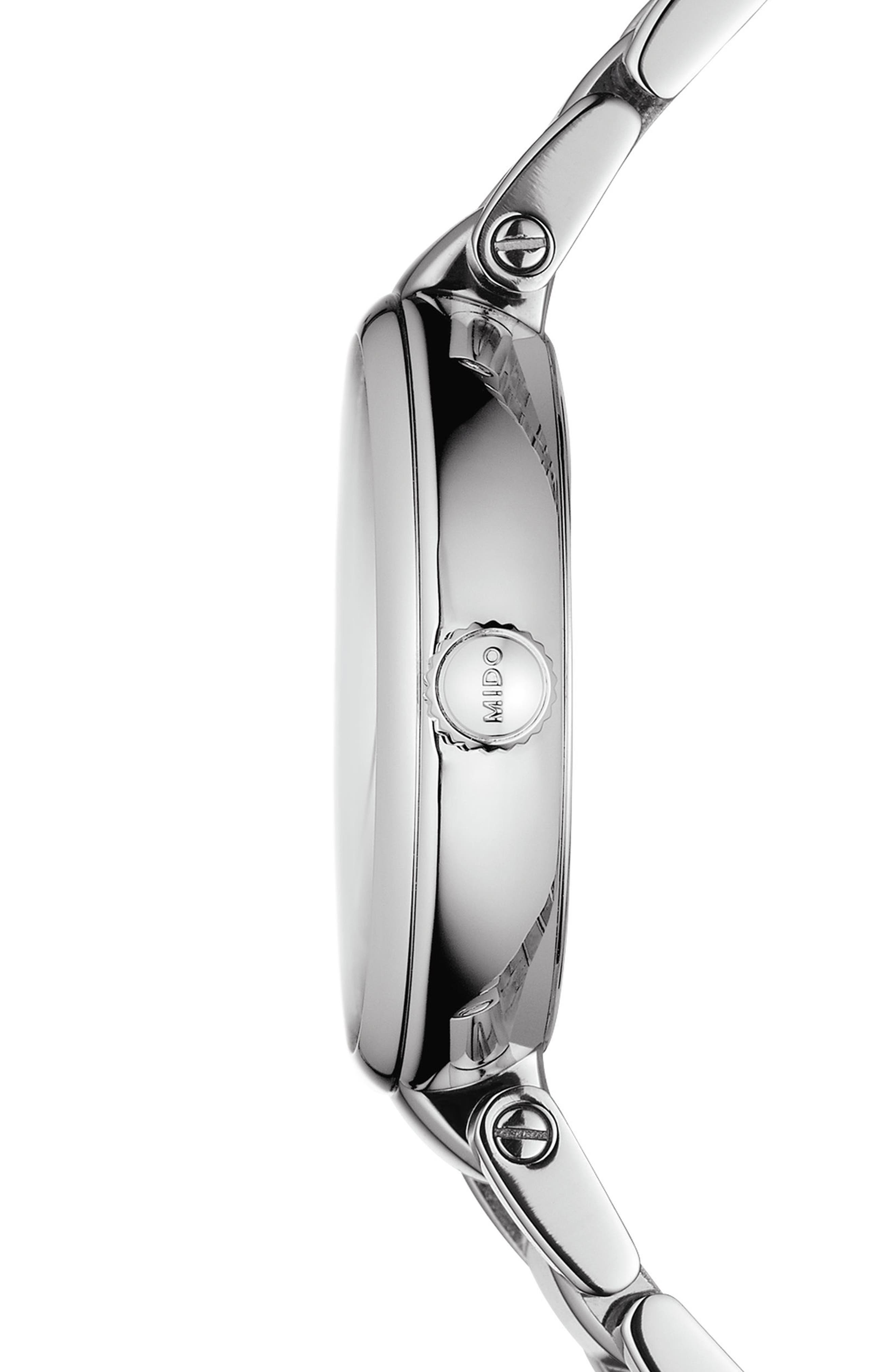 Baroncelli Diamond Bracelet Watch, 28mm,                             Alternate thumbnail 3, color,                             Silver/ Chrome/ Silver