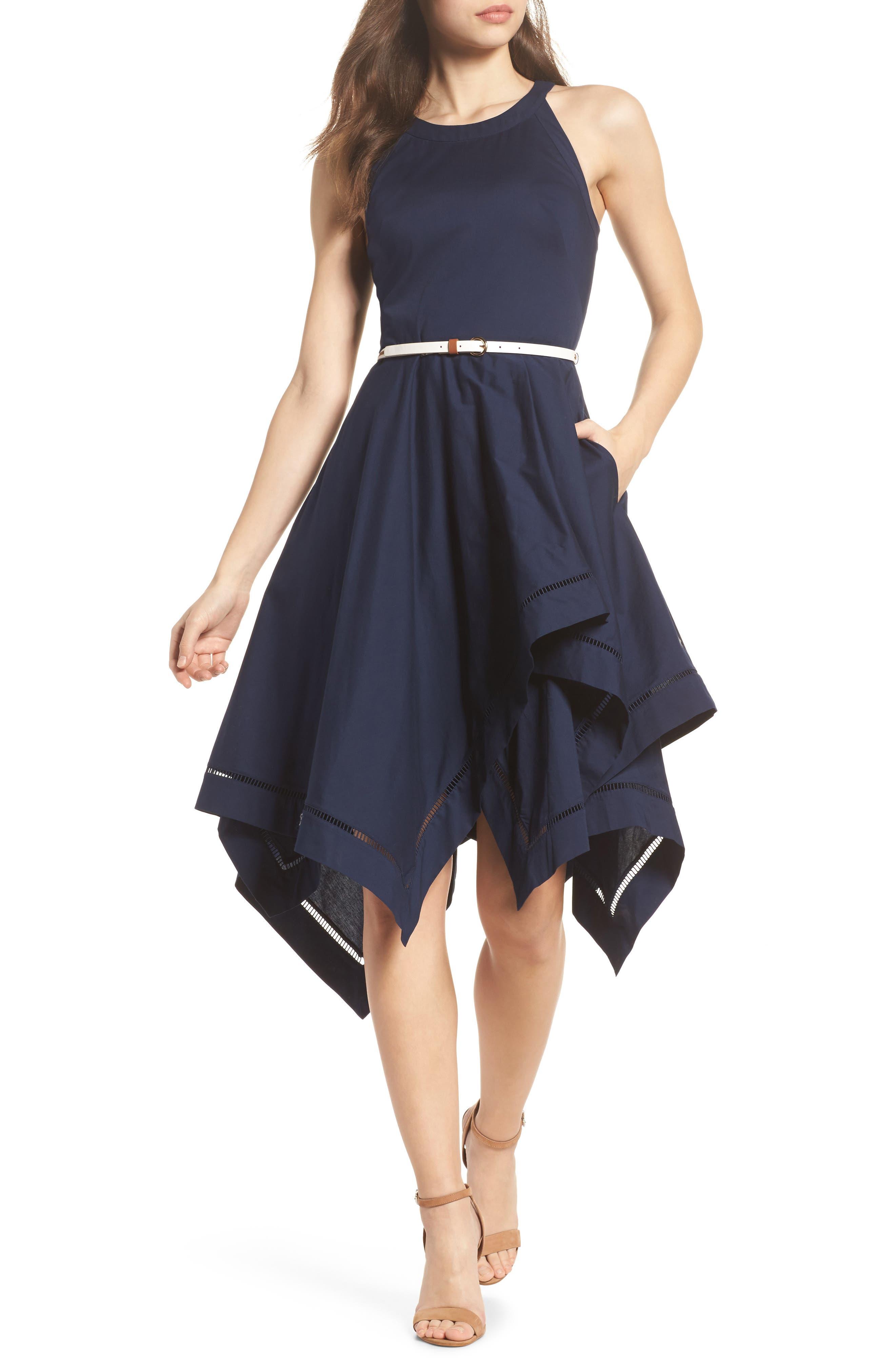 Handkerchief Hem Fit & Flare Dress,                             Main thumbnail 1, color,                             Navy