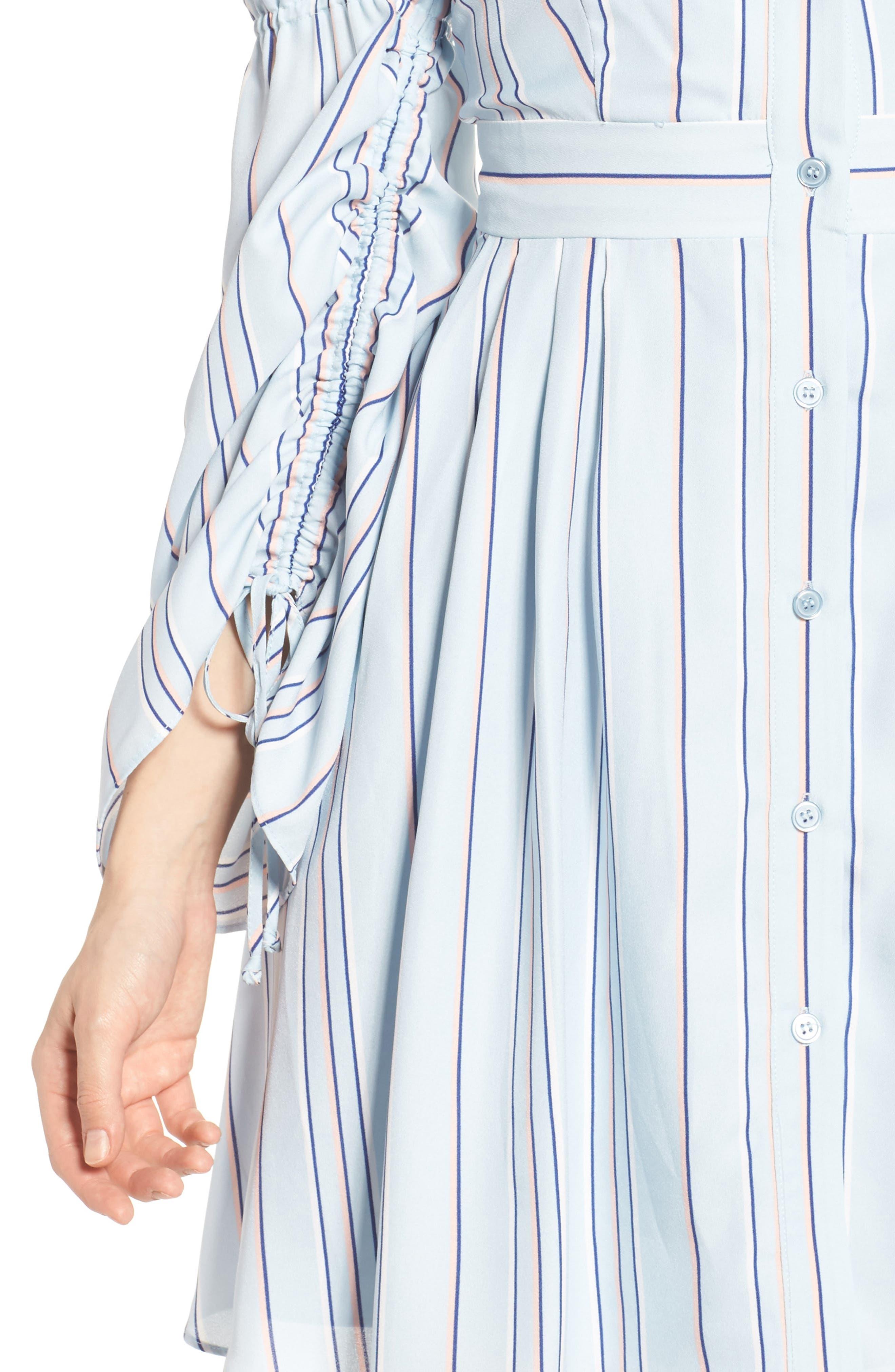 Stripe Shirtdress,                             Alternate thumbnail 4, color,                             Powder Blue Multi