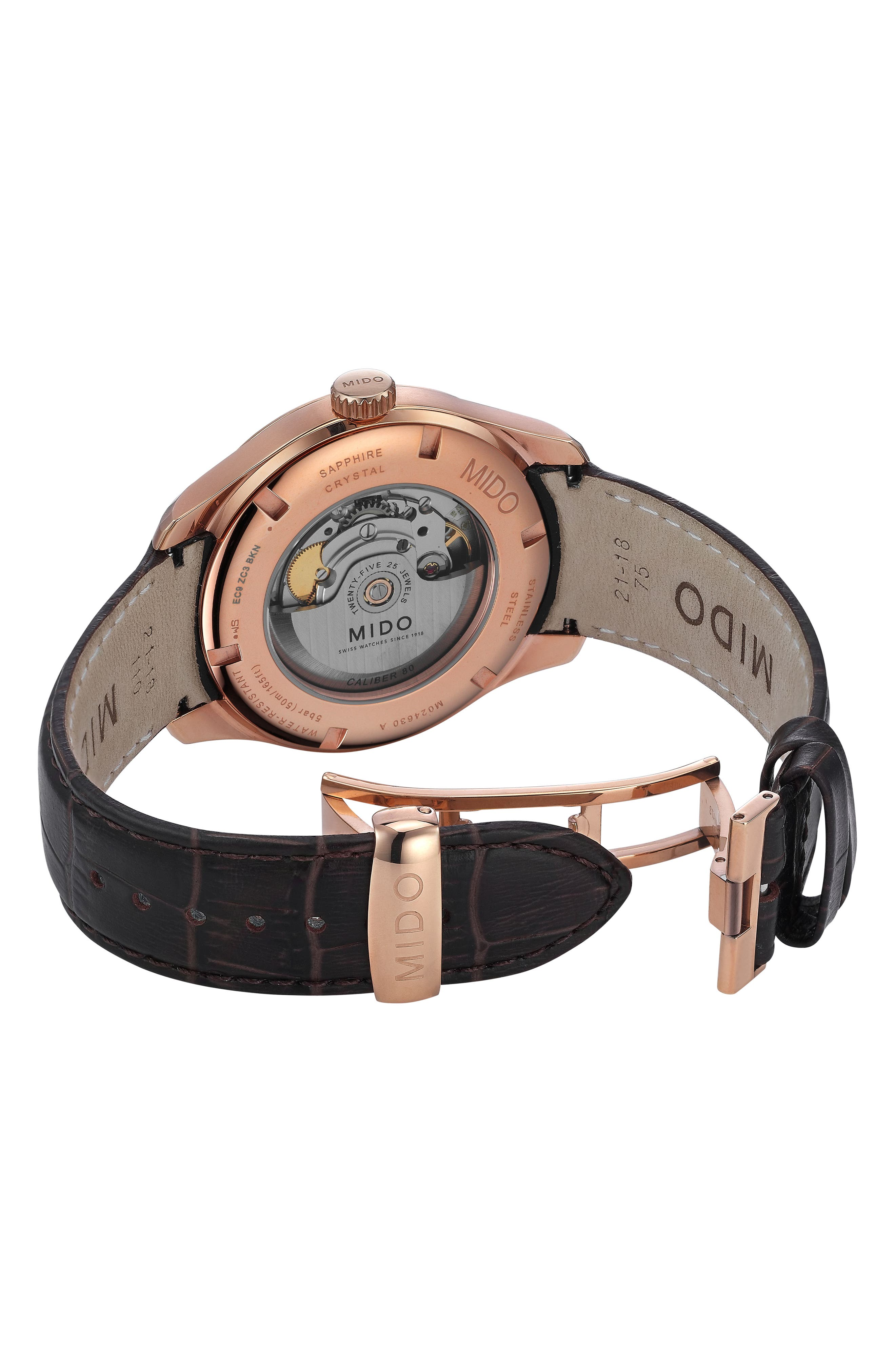 Belluna II Leather Strap Watch, 42mm,                             Alternate thumbnail 2, color,                             Brown/ Blue/ Rose Gold