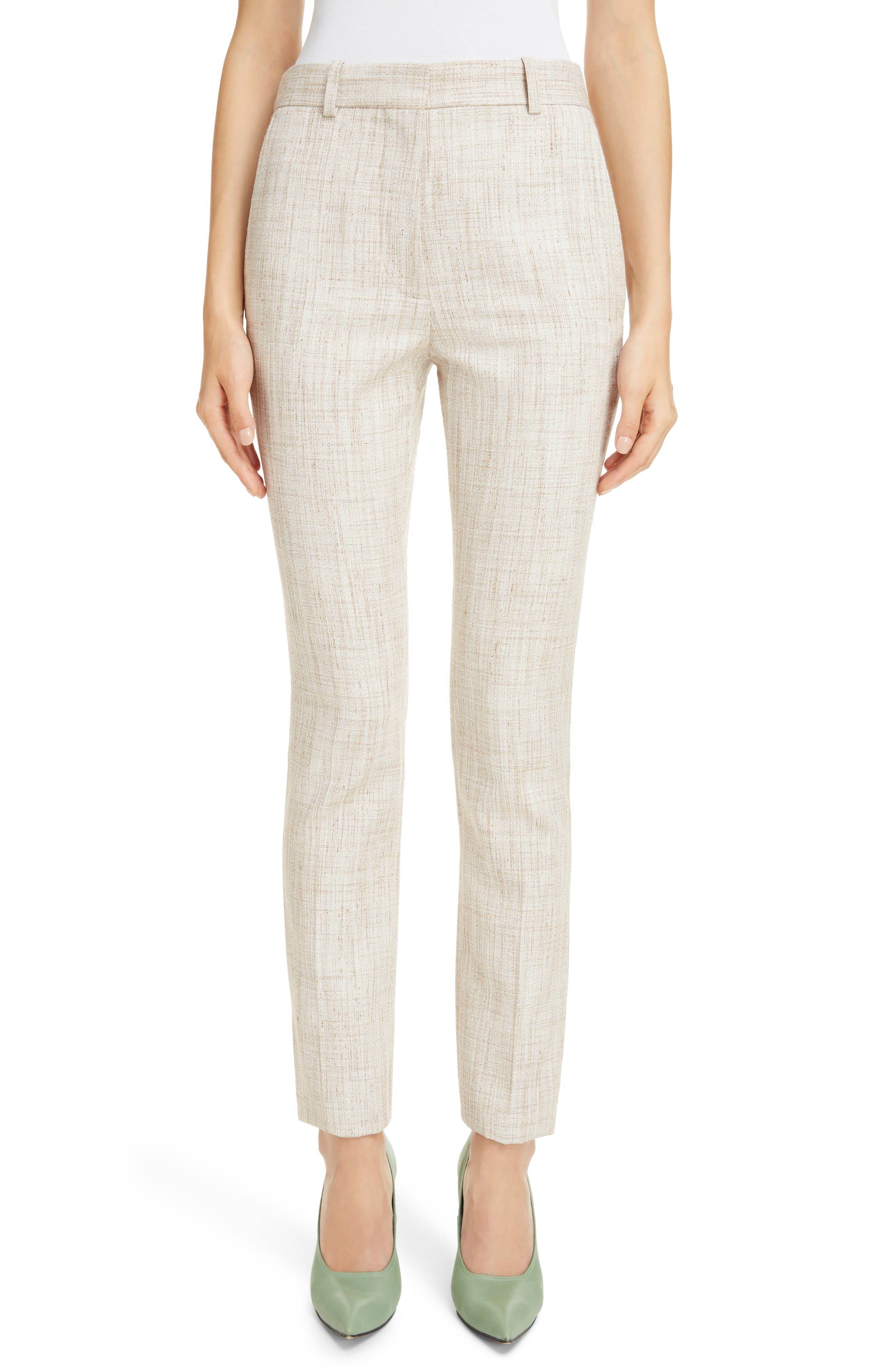Tweed Slim Leg Trousers,                             Main thumbnail 1, color,                             White-Beige
