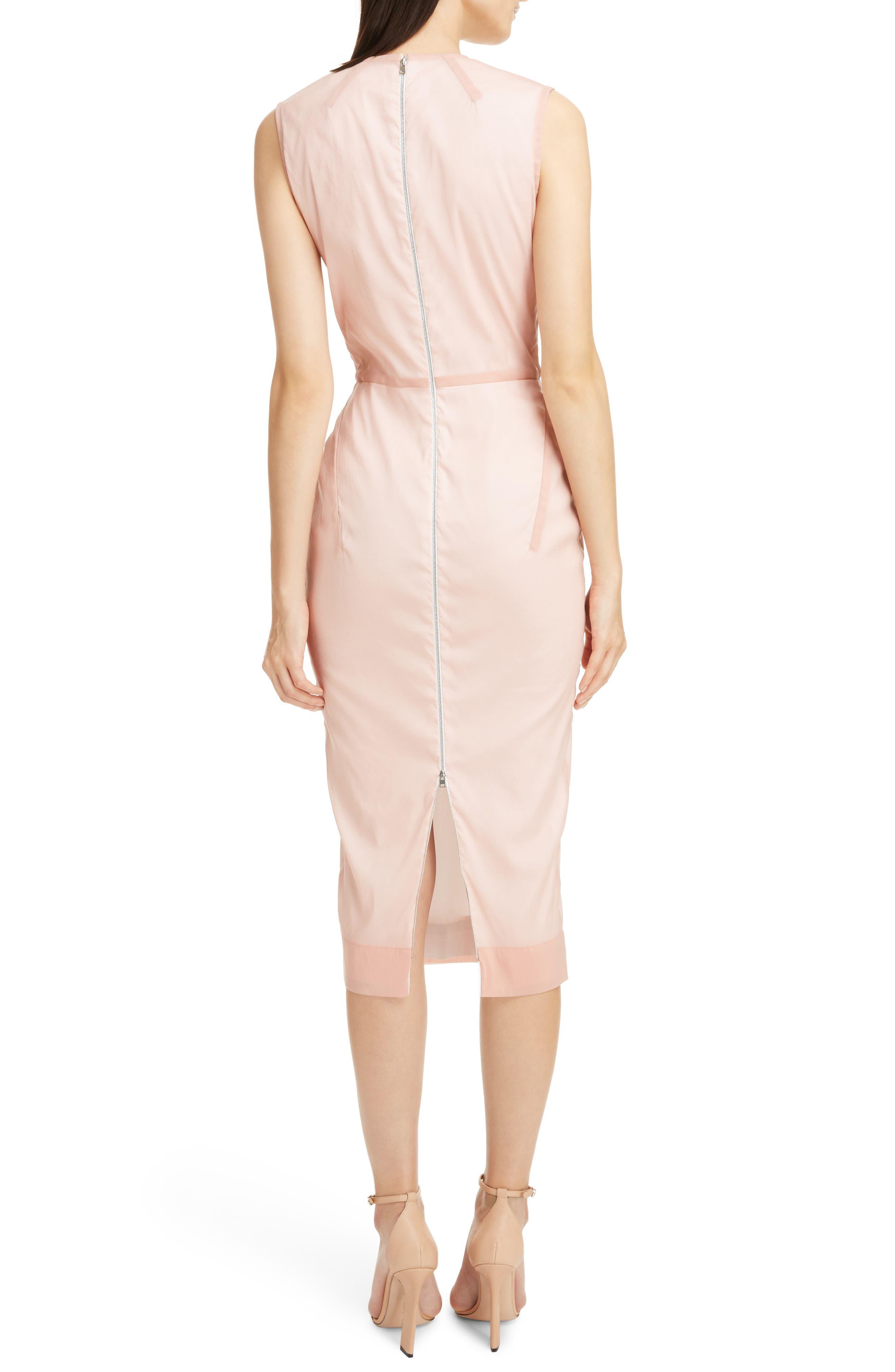 Stretch Silk Organza Sheath Dress,                             Alternate thumbnail 2, color,                             Dusty Pink