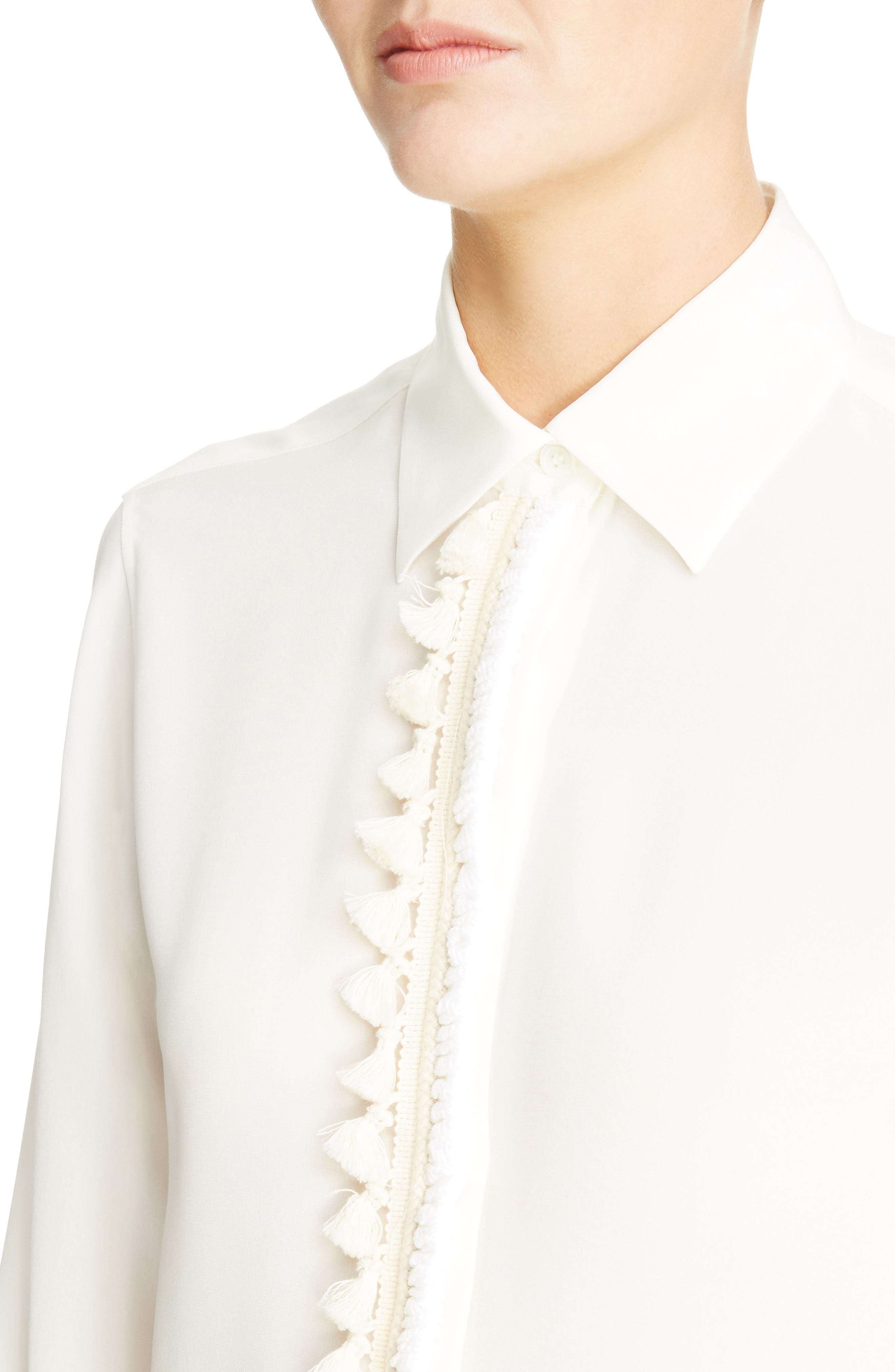 Tassel Placket Silk Shirt,                             Alternate thumbnail 4, color,                             White
