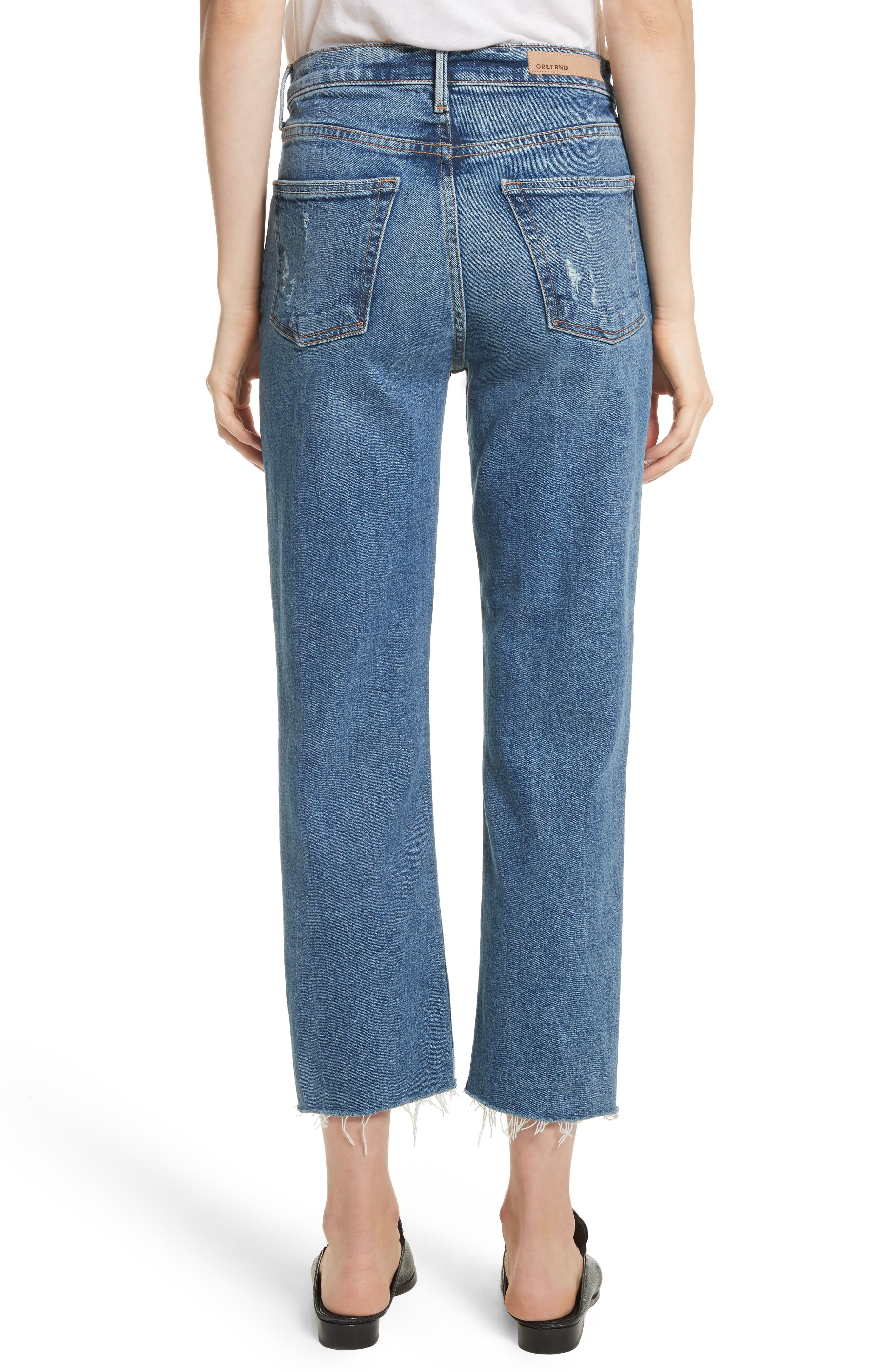 Helena Distressed Rigid High Waist Straight Jeans,                             Alternate thumbnail 2, color,                             Sixpence
