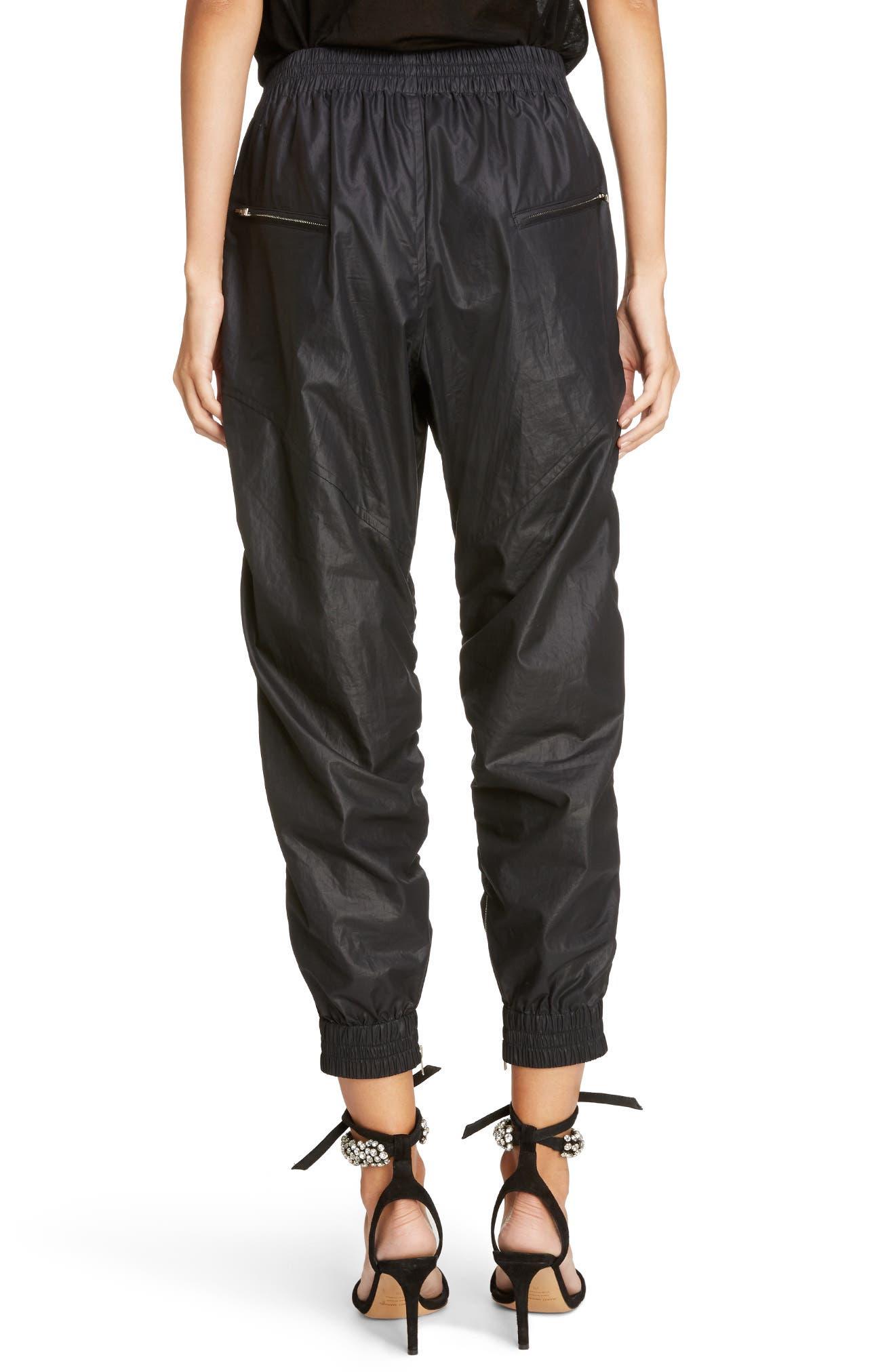 Coated Crop Jogger Pants,                             Alternate thumbnail 3, color,                             Black