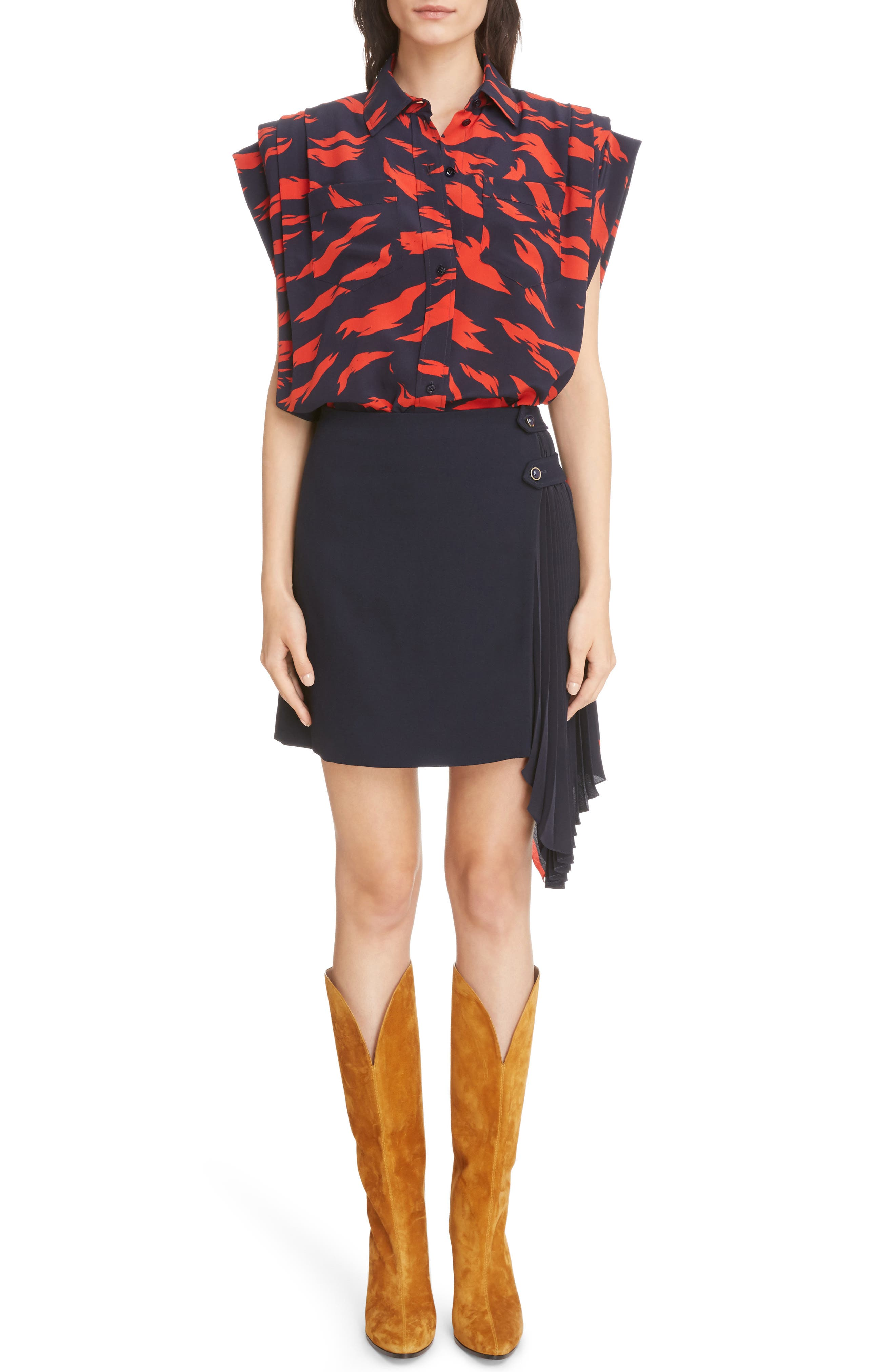 Pleat Panel Wool Skirt,                             Alternate thumbnail 2, color,                             Navy/ Red