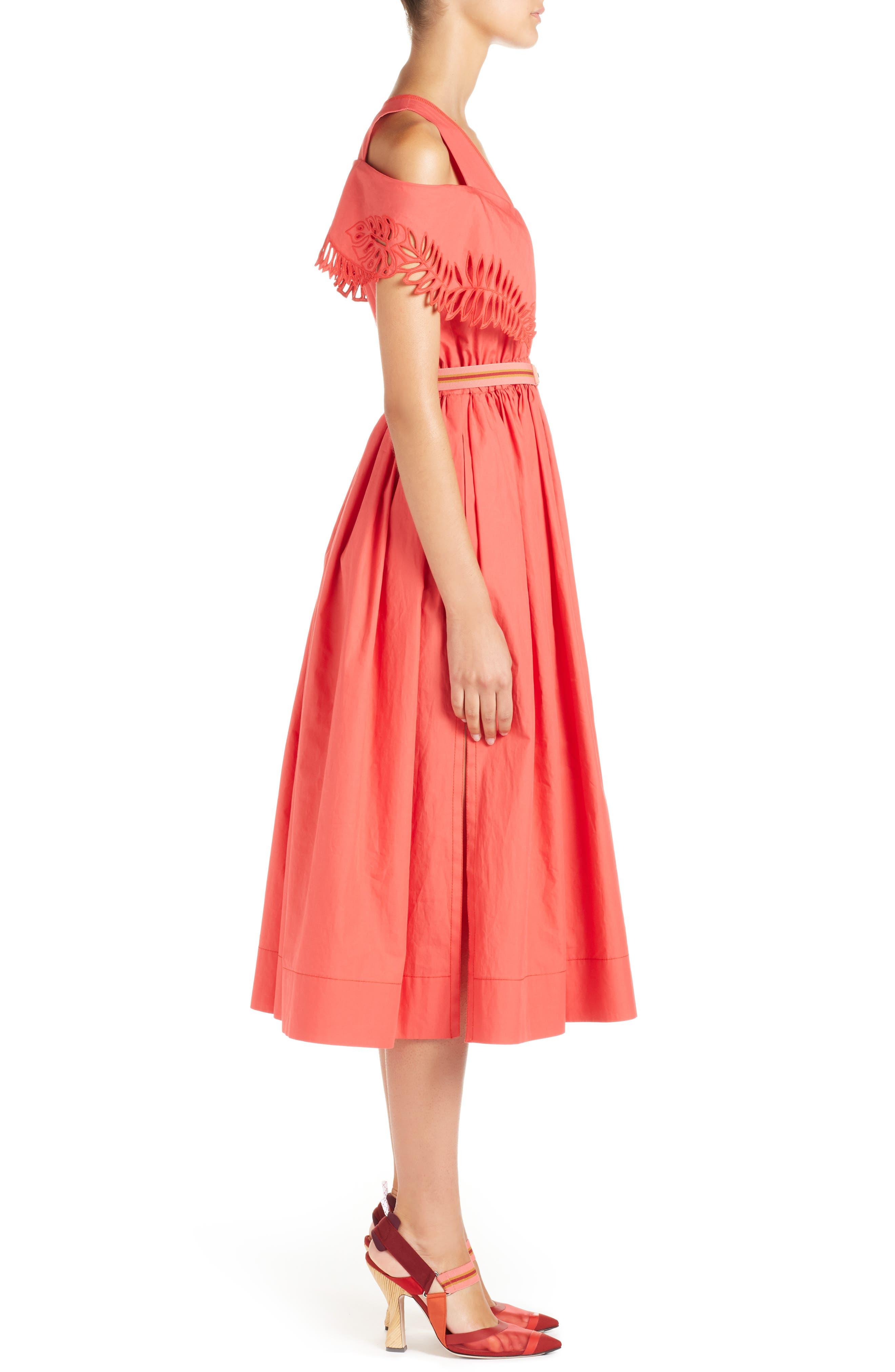 Alternate Image 3  - Fendi Cold Shoulder Taffeta Midi Dress