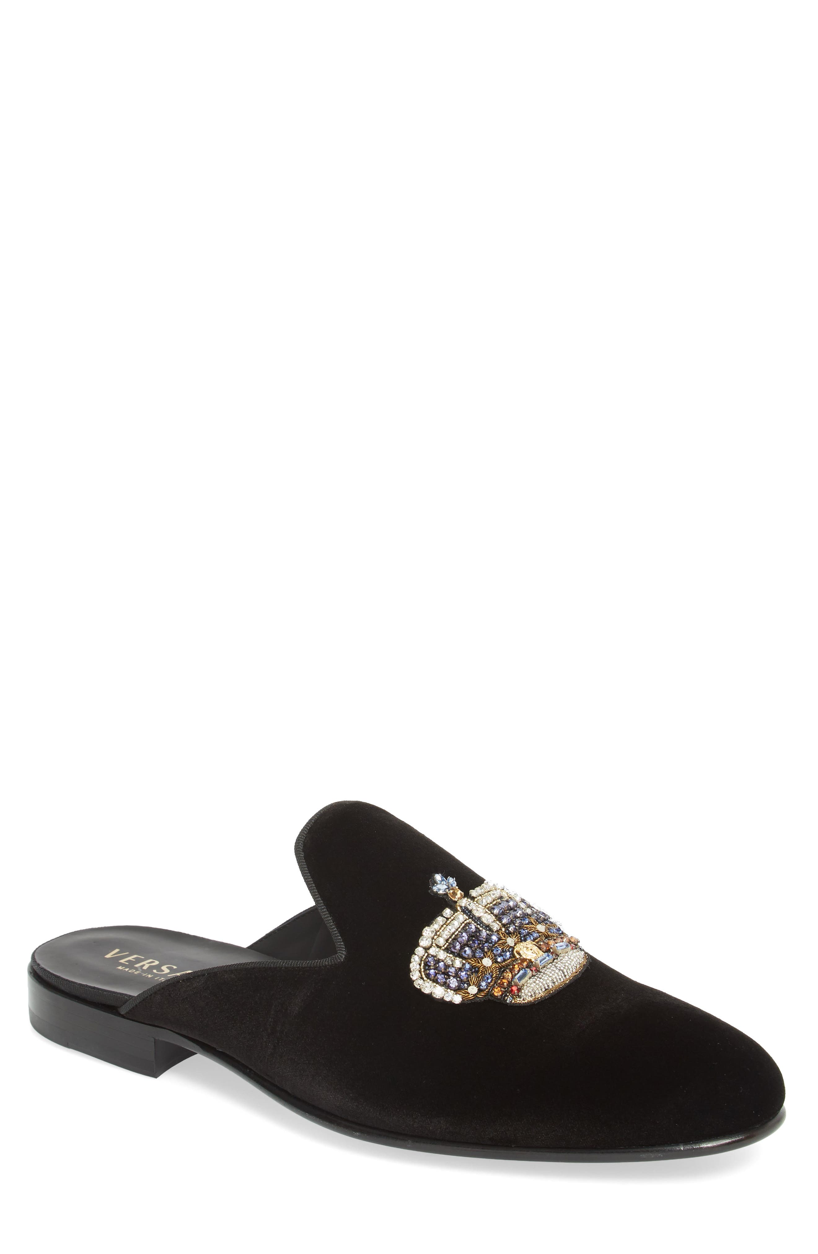 Gianni Embellished Crown Loafer Mule,                             Main thumbnail 1, color,                             Black Warm Gold