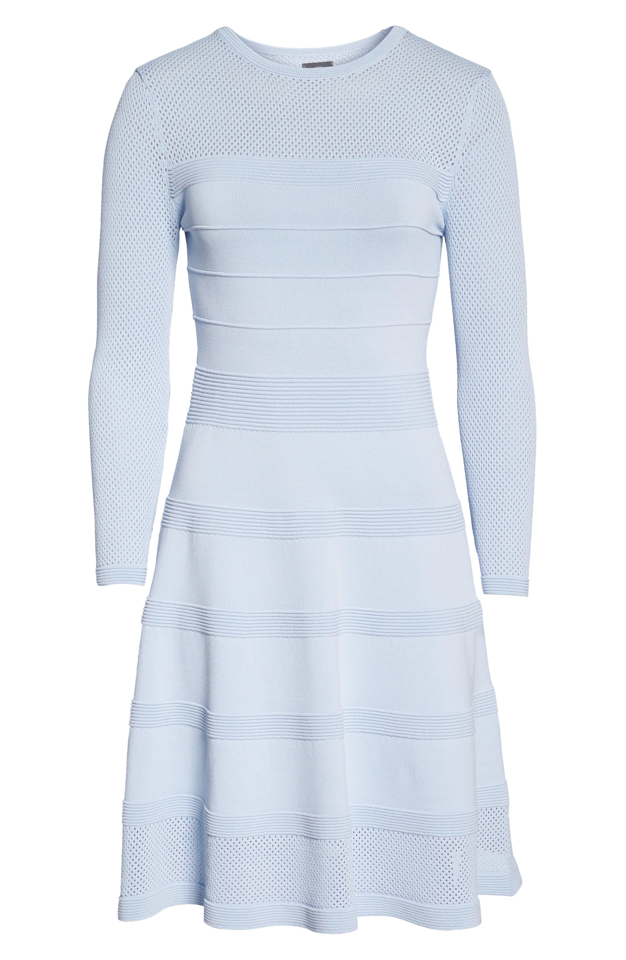 Mix Stitch Pointelle Fit & Flare Dress,                             Alternate thumbnail 6, color,                             Blue