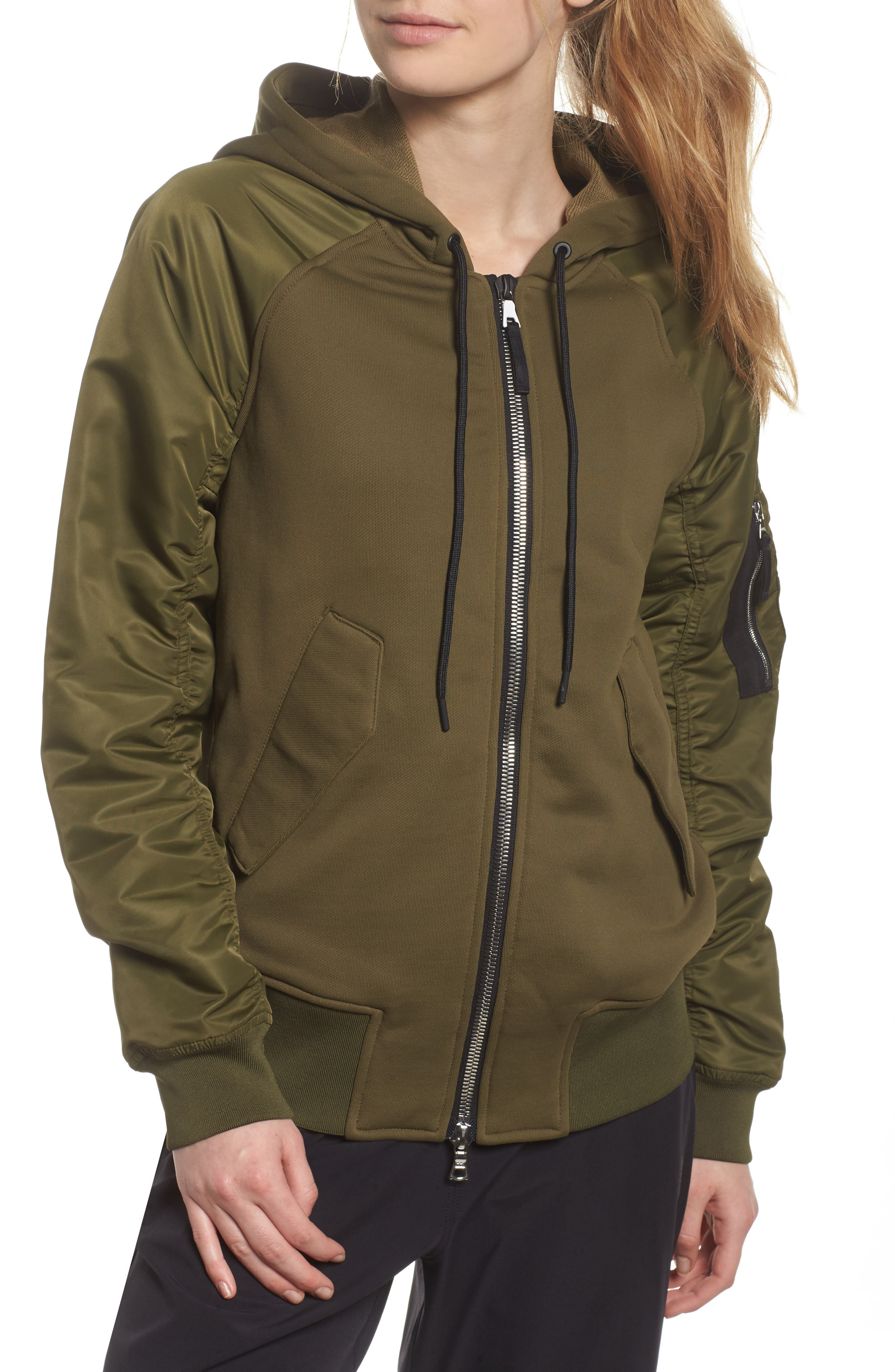 NikeLab Women's Mixed Media Bomber Jacket,                             Alternate thumbnail 4, color,                             Olive Canvas/ Black
