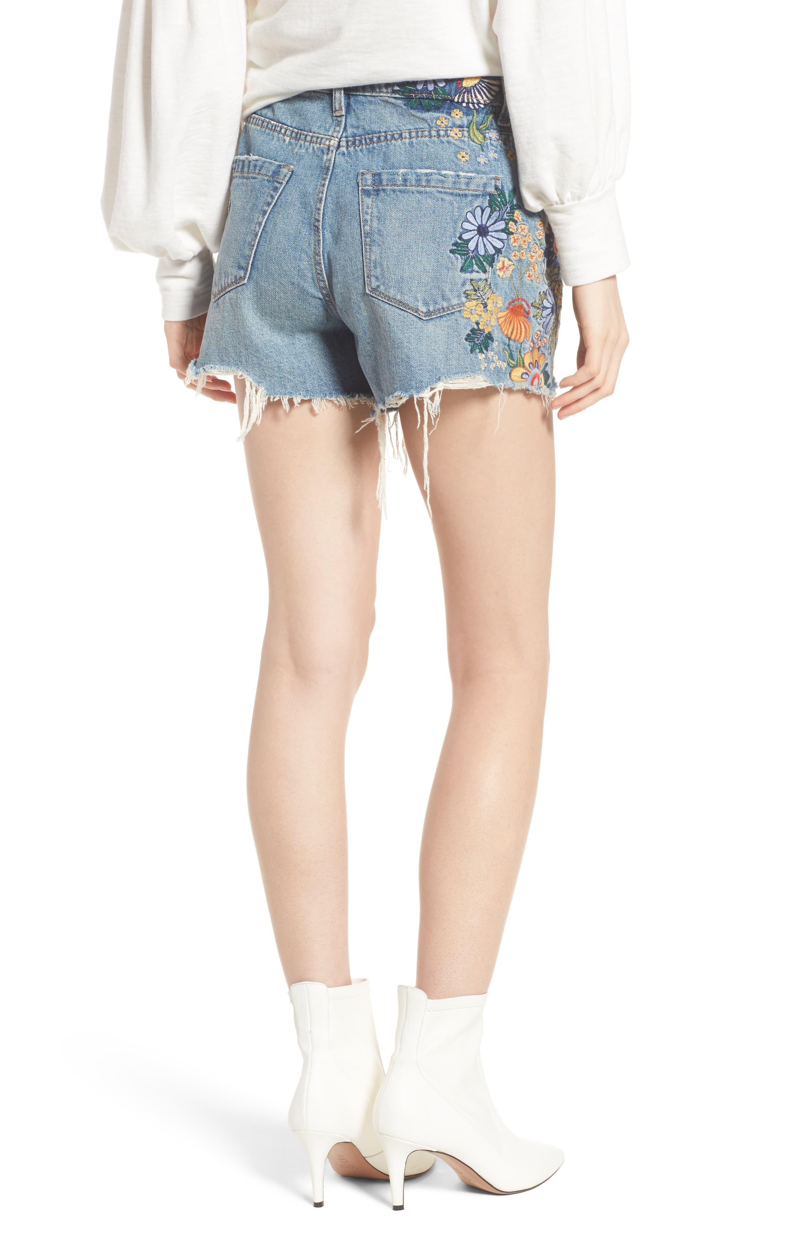 Sonic Bloom Embroidered Denim Shorts,                             Alternate thumbnail 2, color,                             Blue