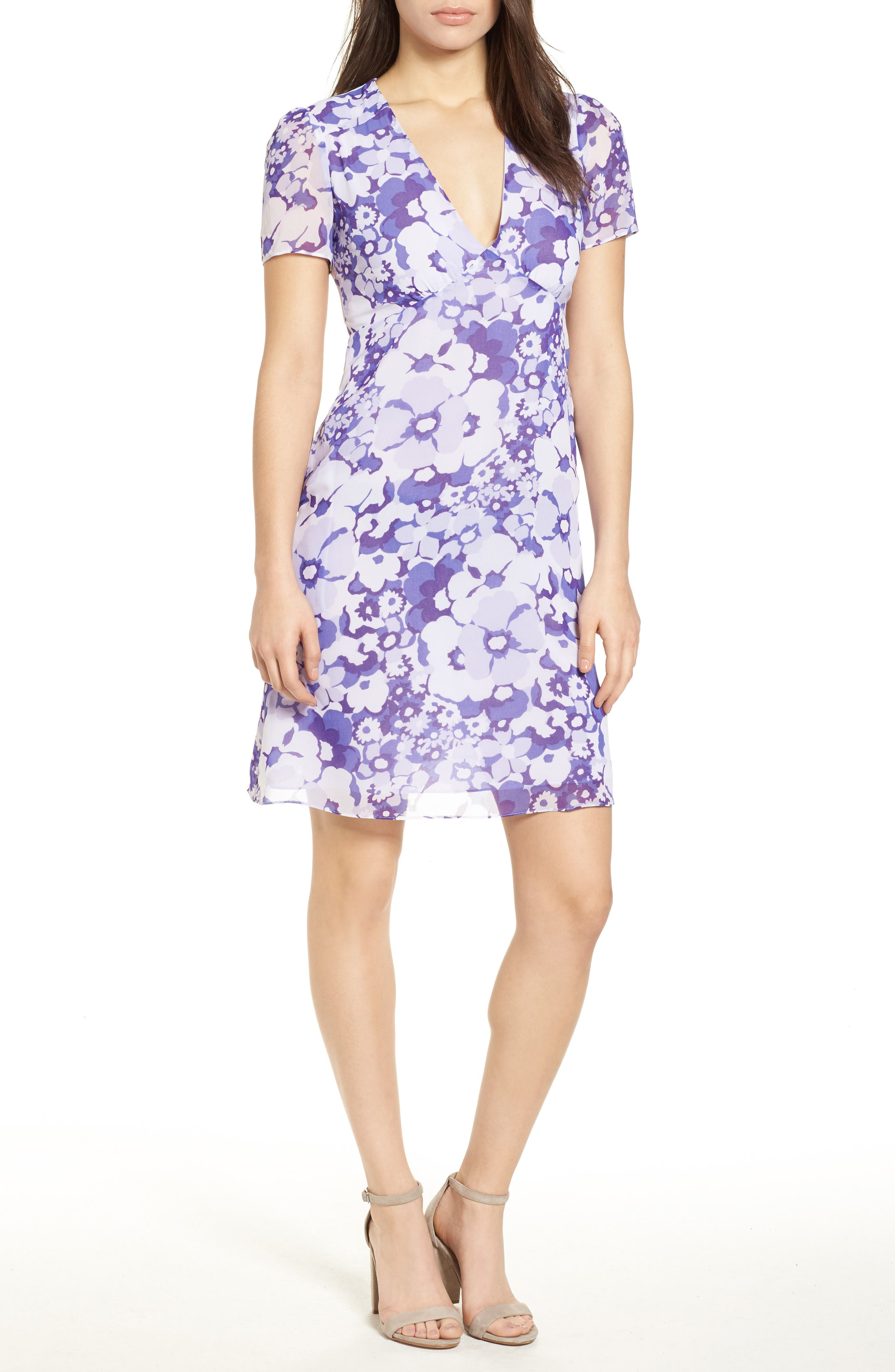 Springtime Floral Dress,                         Main,                         color, Amethyst/ Light Quartz Multi
