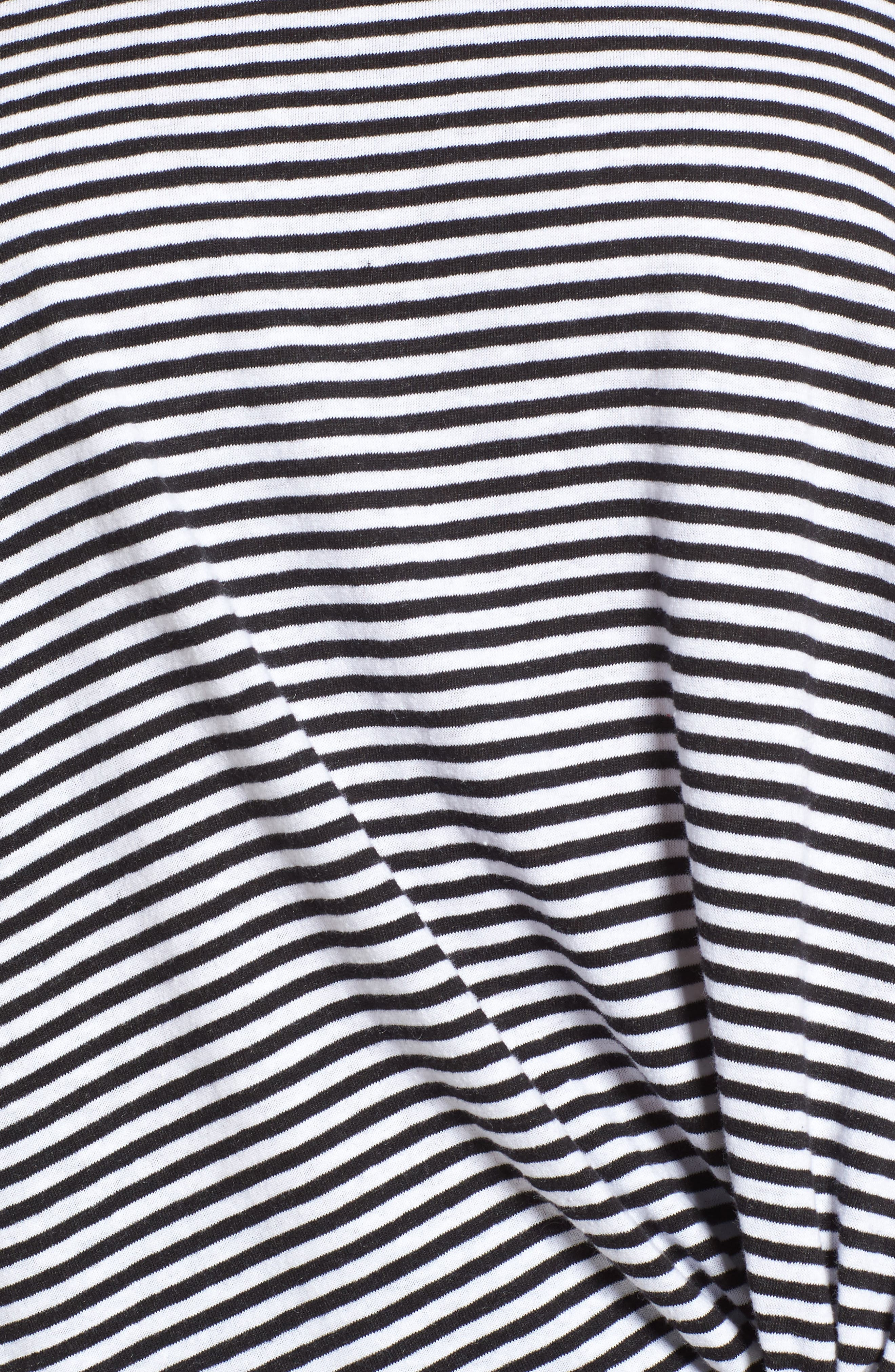 Long Sleeve Front Knot Tee,                             Alternate thumbnail 5, color,                             Black- White Even Stripe
