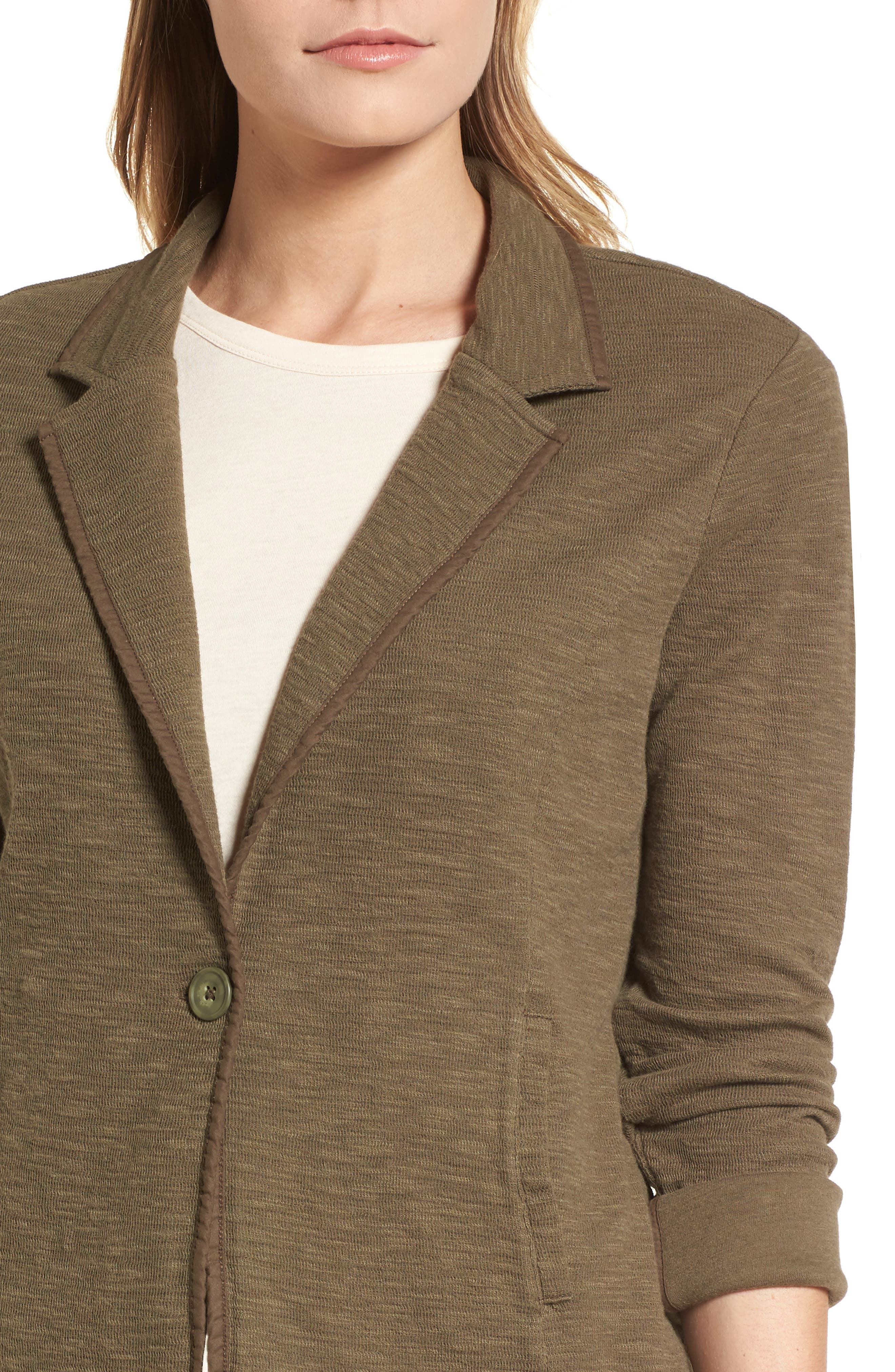 One-Button Knit Blazer,                             Alternate thumbnail 4, color,                             Olive Sarma