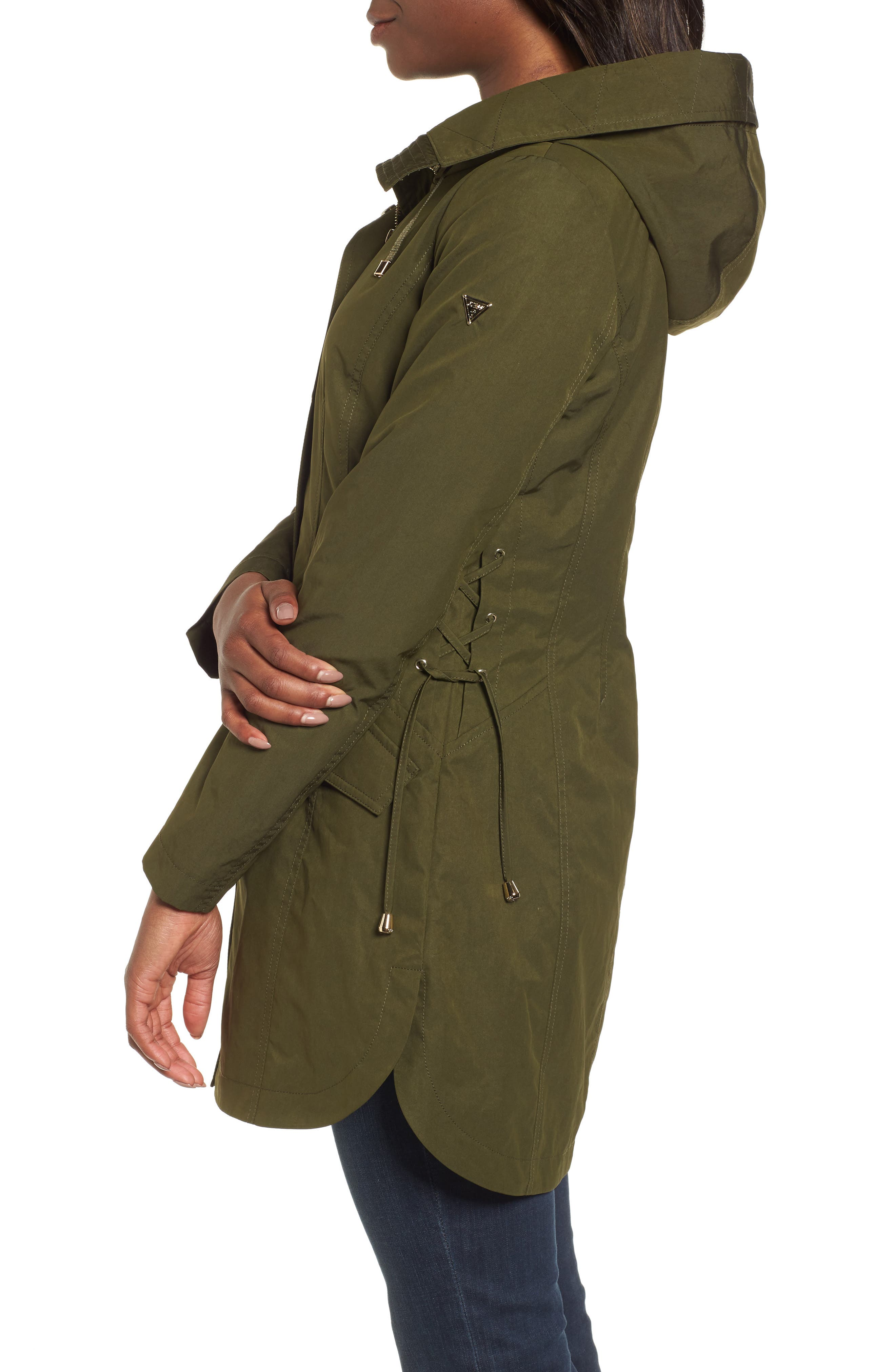 Side Lace-Up Hooded Trench Coat,                             Alternate thumbnail 3, color,                             Olive