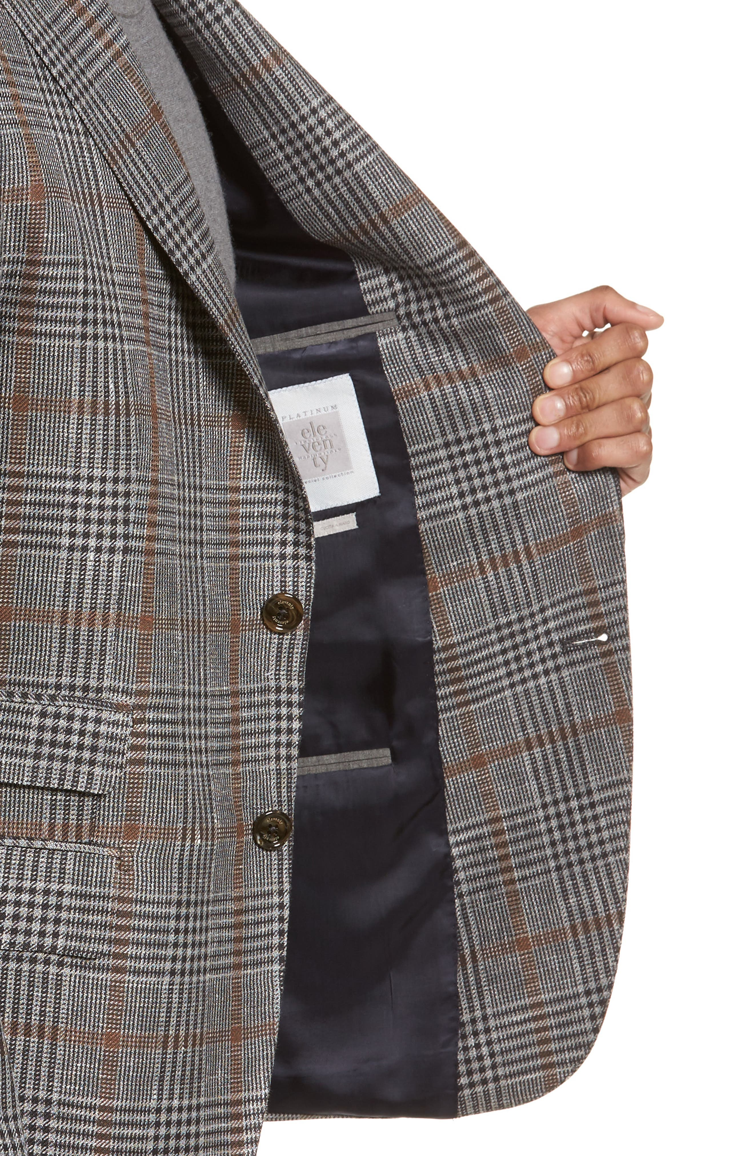 Trim Fit Plaid Linen Blend Sport Coat,                             Alternate thumbnail 4, color,                             Light Grey