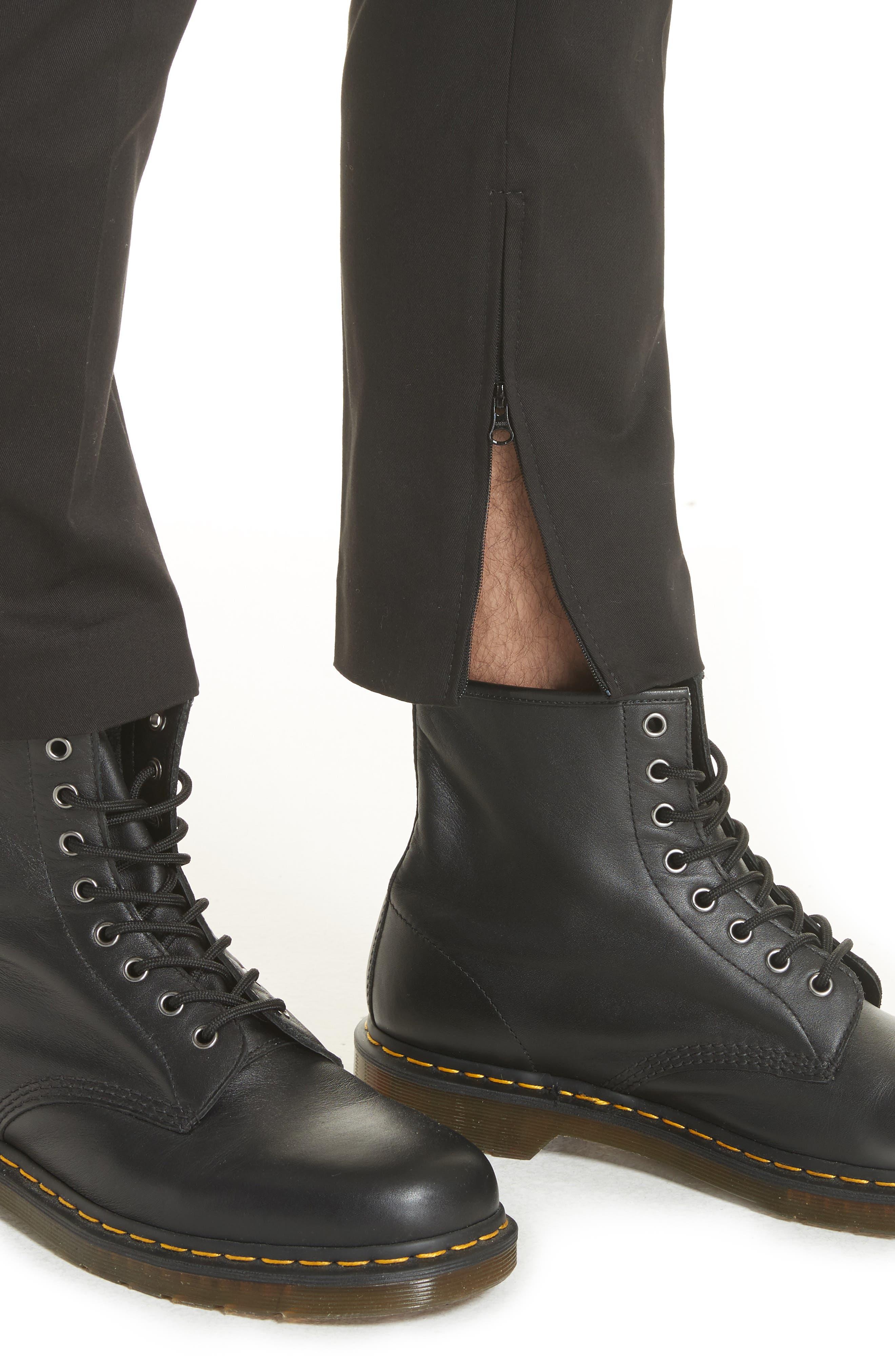 Dan Skinny Fit Cropped Trousers,                             Alternate thumbnail 4, color,                             Black