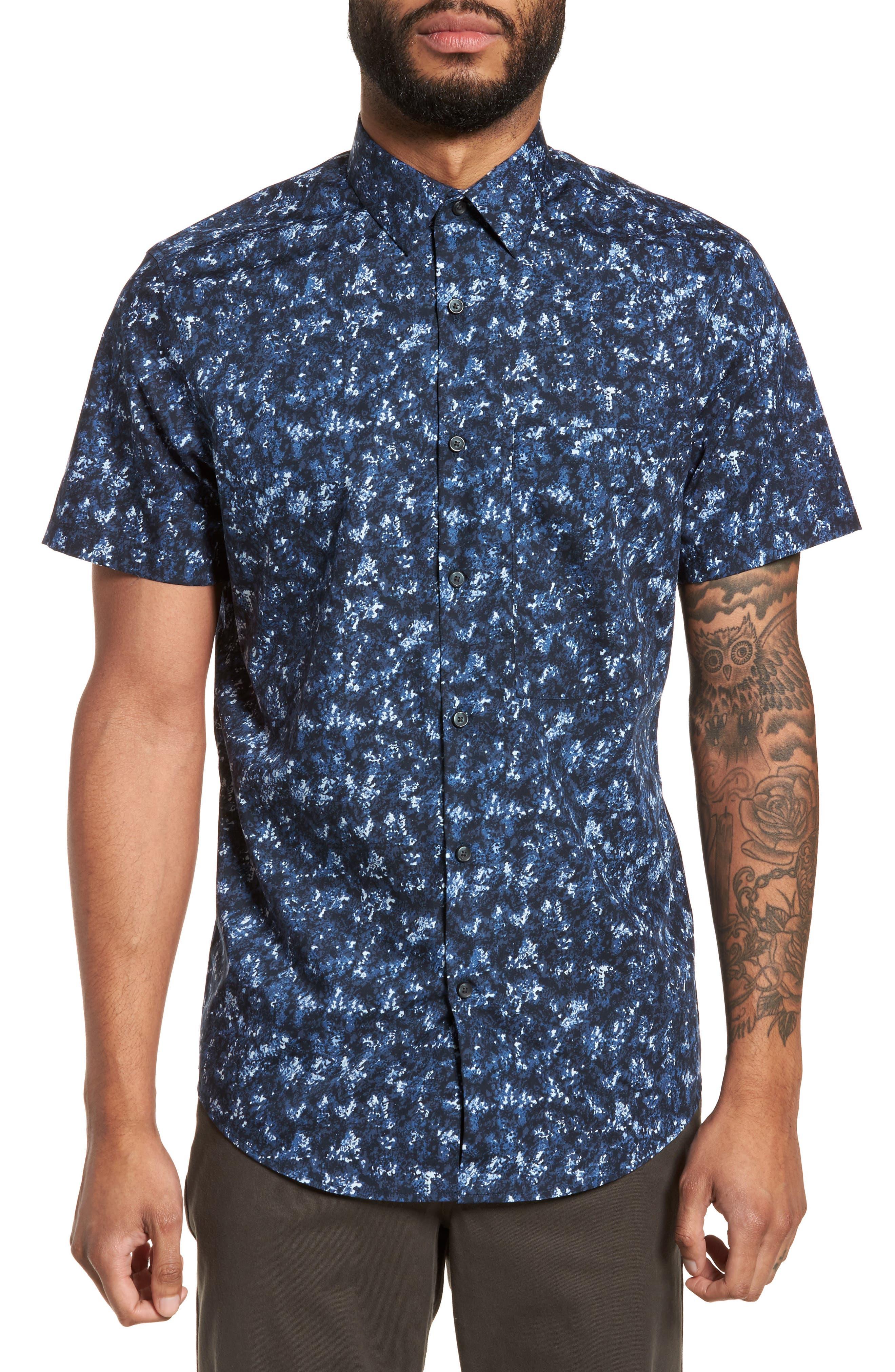 Print Sport Shirt,                         Main,                         color, Blue Navy Crinkle