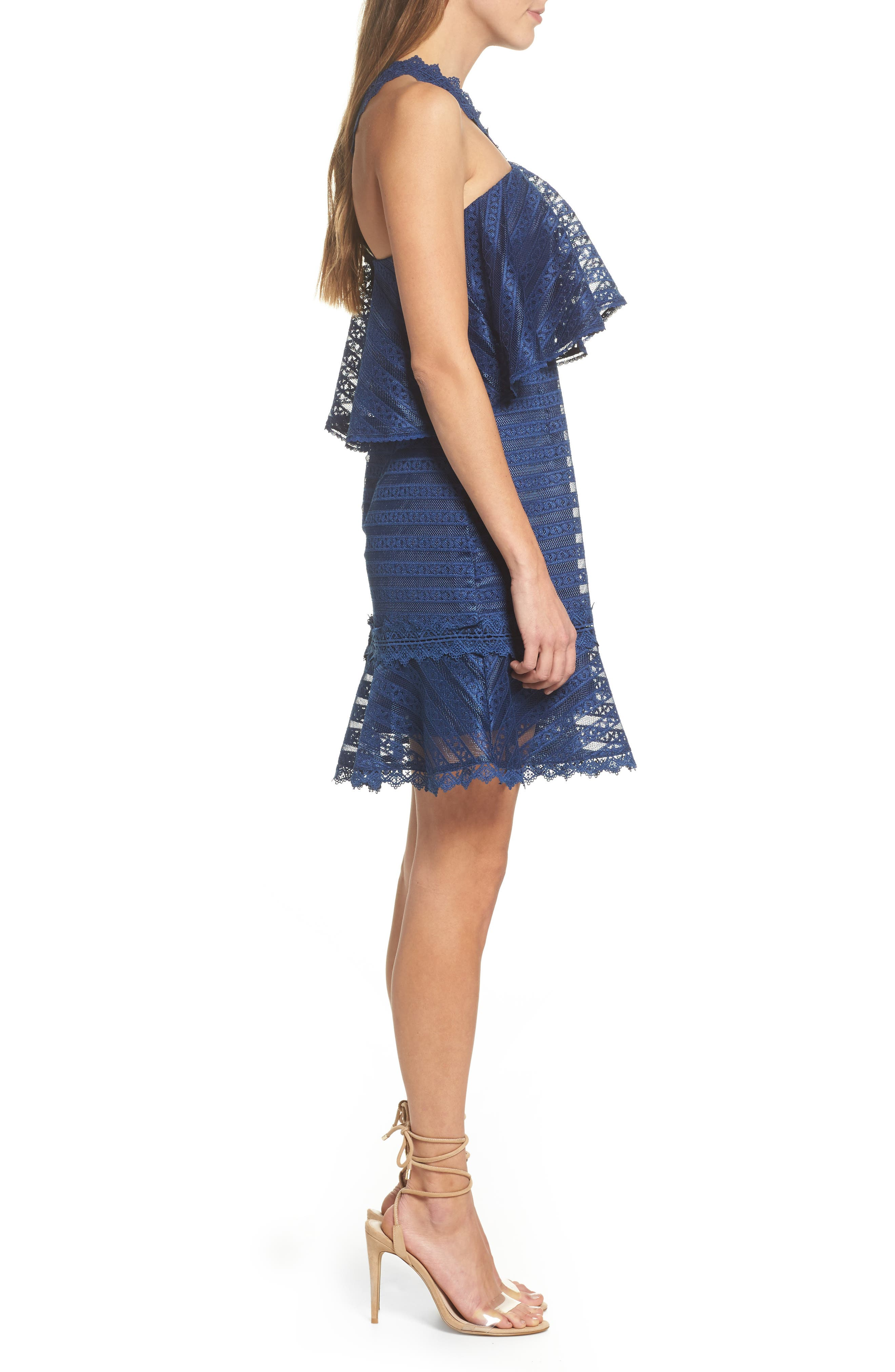 Lucy Ruffle Halter Dress,                             Alternate thumbnail 3, color,                             Navy