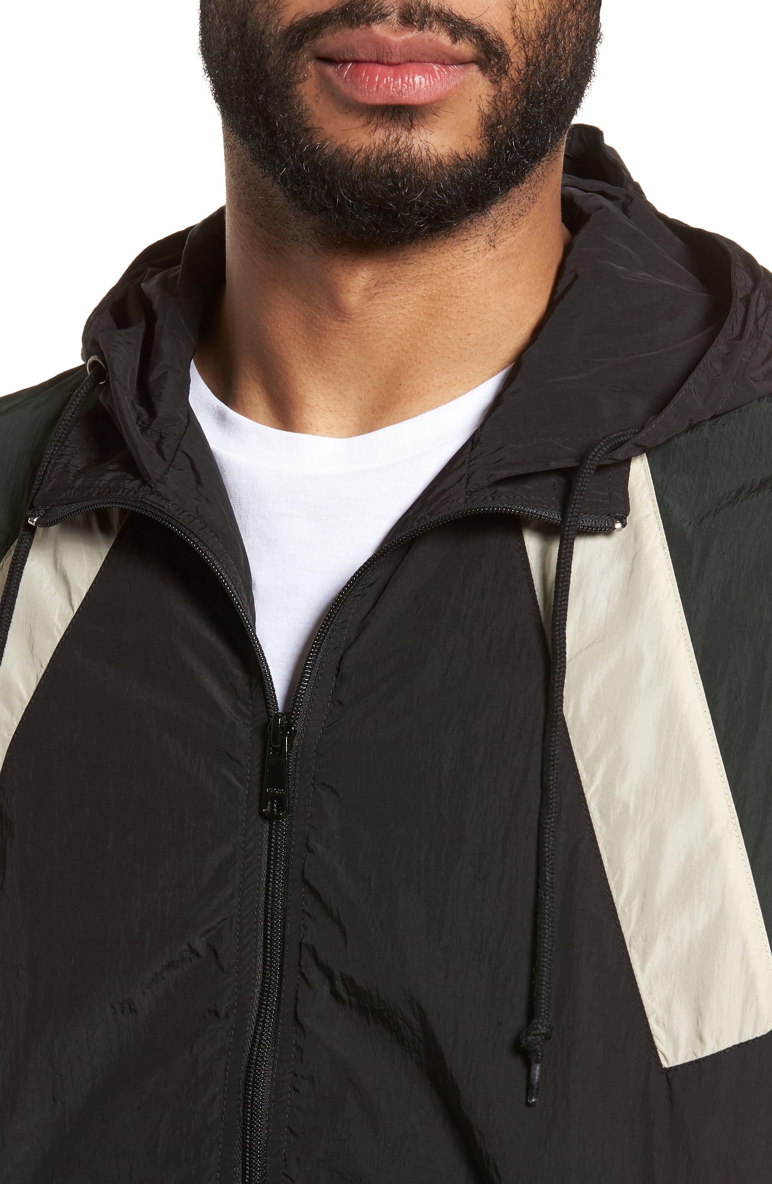 Hooded Shell Jacket,                             Alternate thumbnail 4, color,                             Black/ Deep Forest