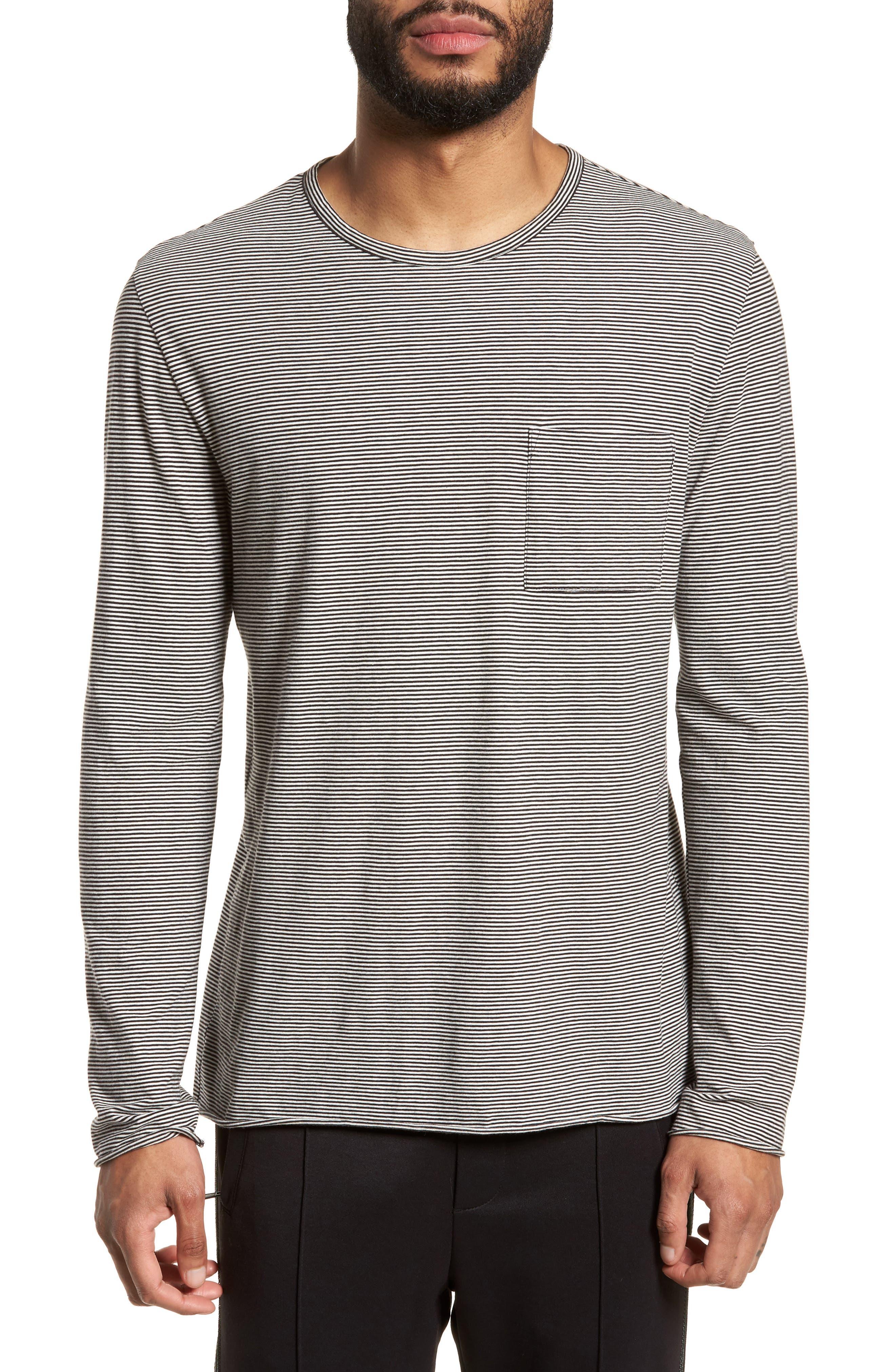 Feeder Stripe Long Sleeve Pocket T-Shirt,                             Main thumbnail 1, color,                             Black/ Leche