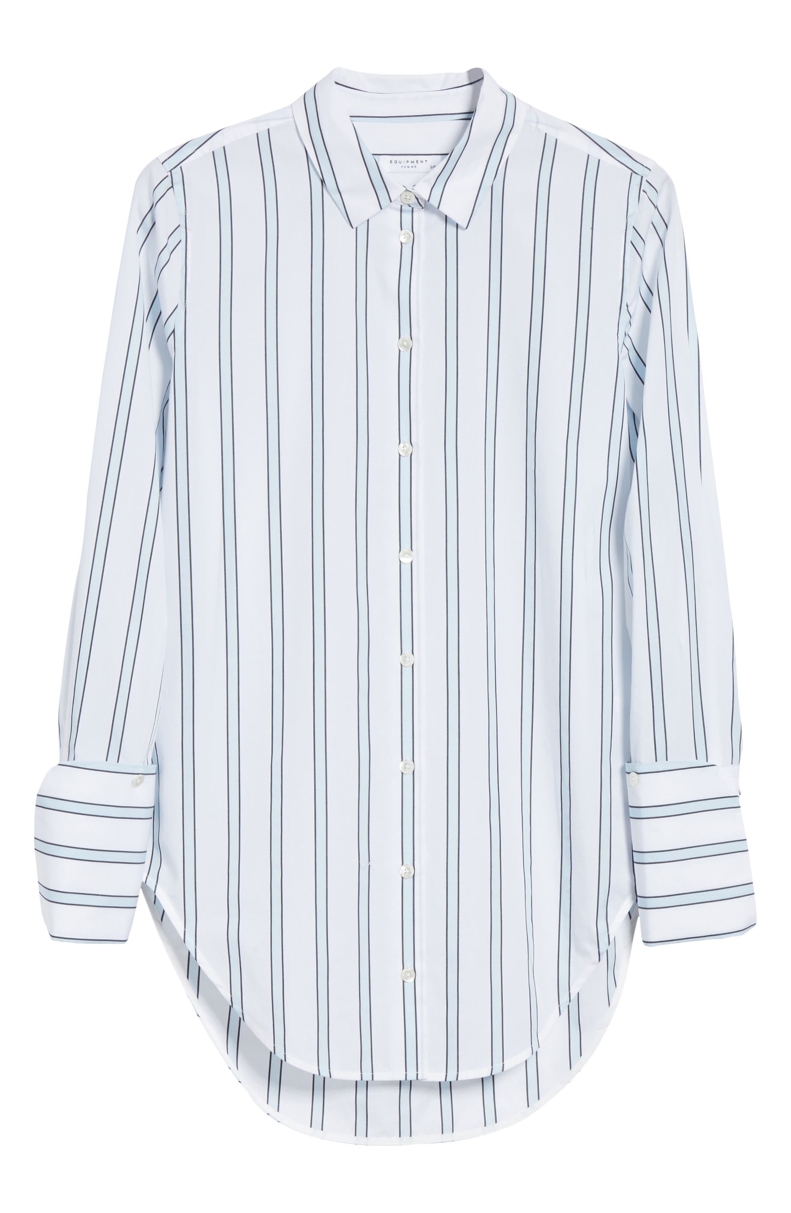 Essential Neopolitan Cuff Stripe Shirt,                             Alternate thumbnail 7, color,                             Bright White-Cool Breeze
