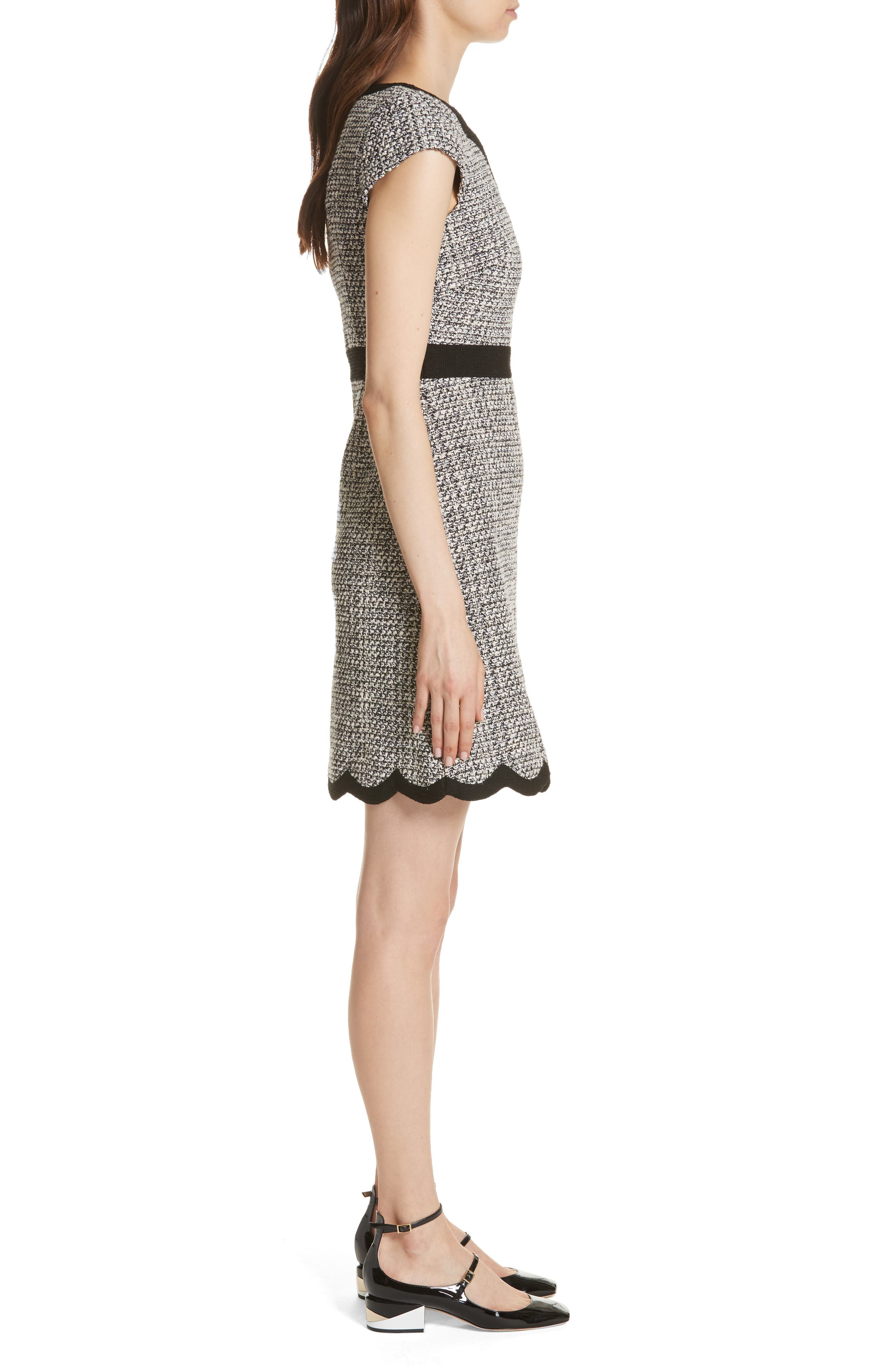 scallop tweed dress,                             Alternate thumbnail 3, color,                             Black/ Cream