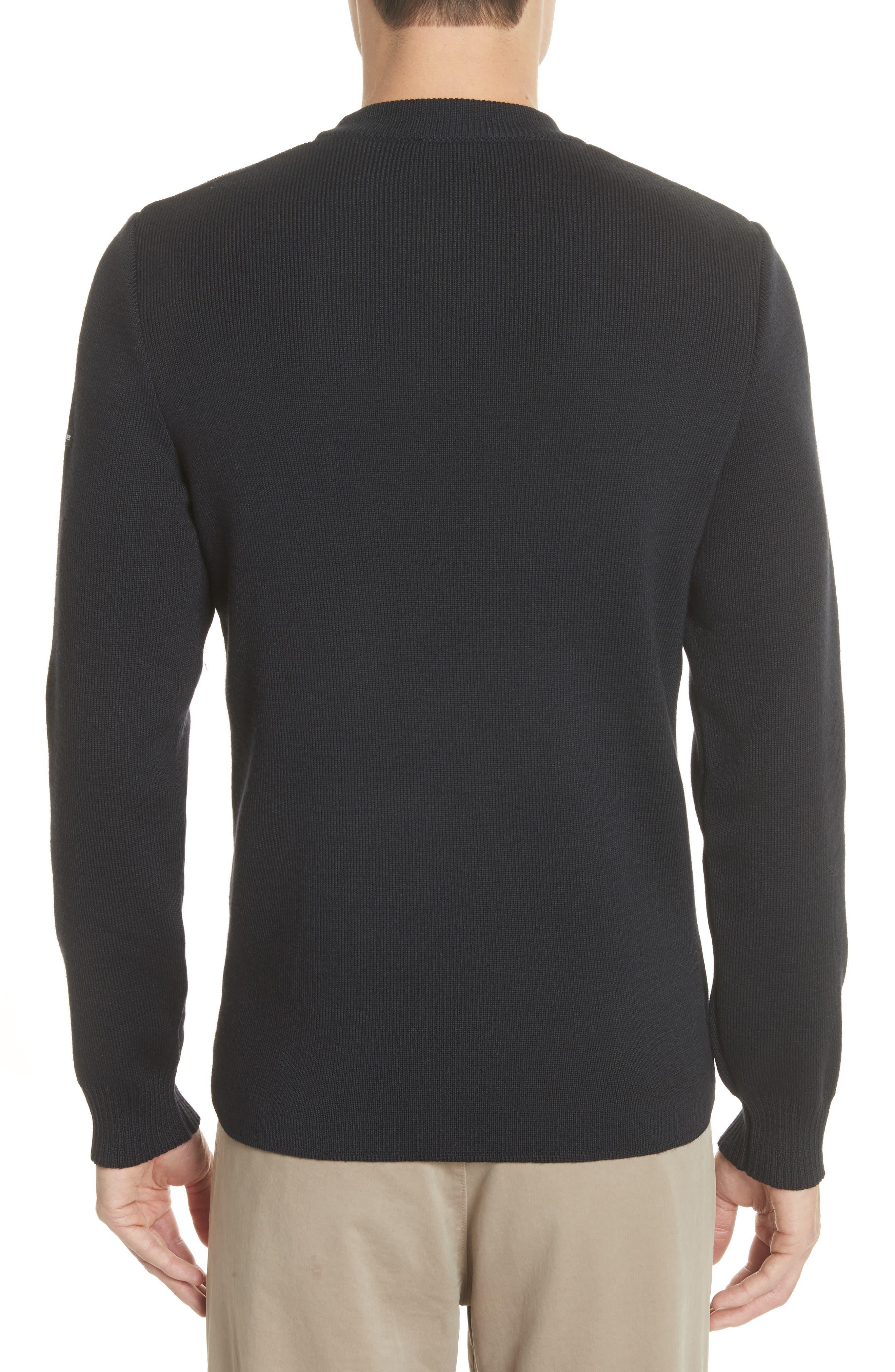 Men's Water Repellent Crewneck Sweater,                             Alternate thumbnail 2, color,                             Navy