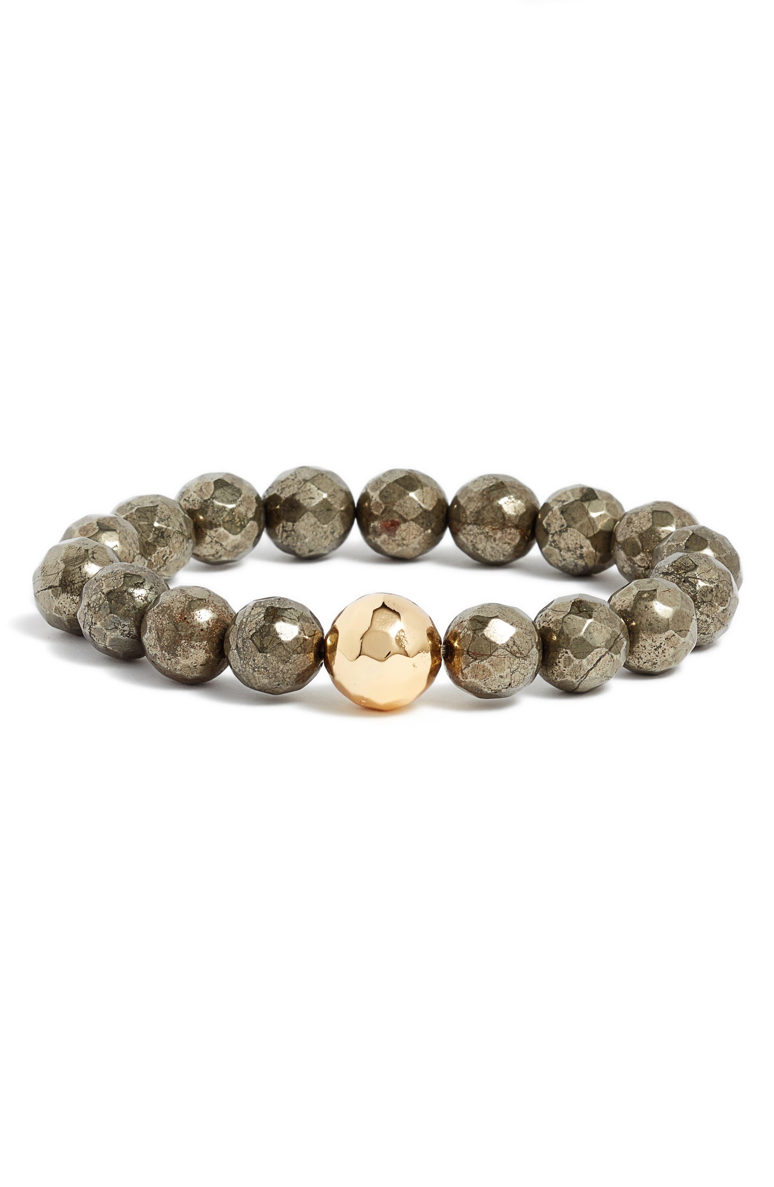 Power Gemstone Pyrite for Strength Bracelet,                         Main,                         color, Pyrite/ Gold