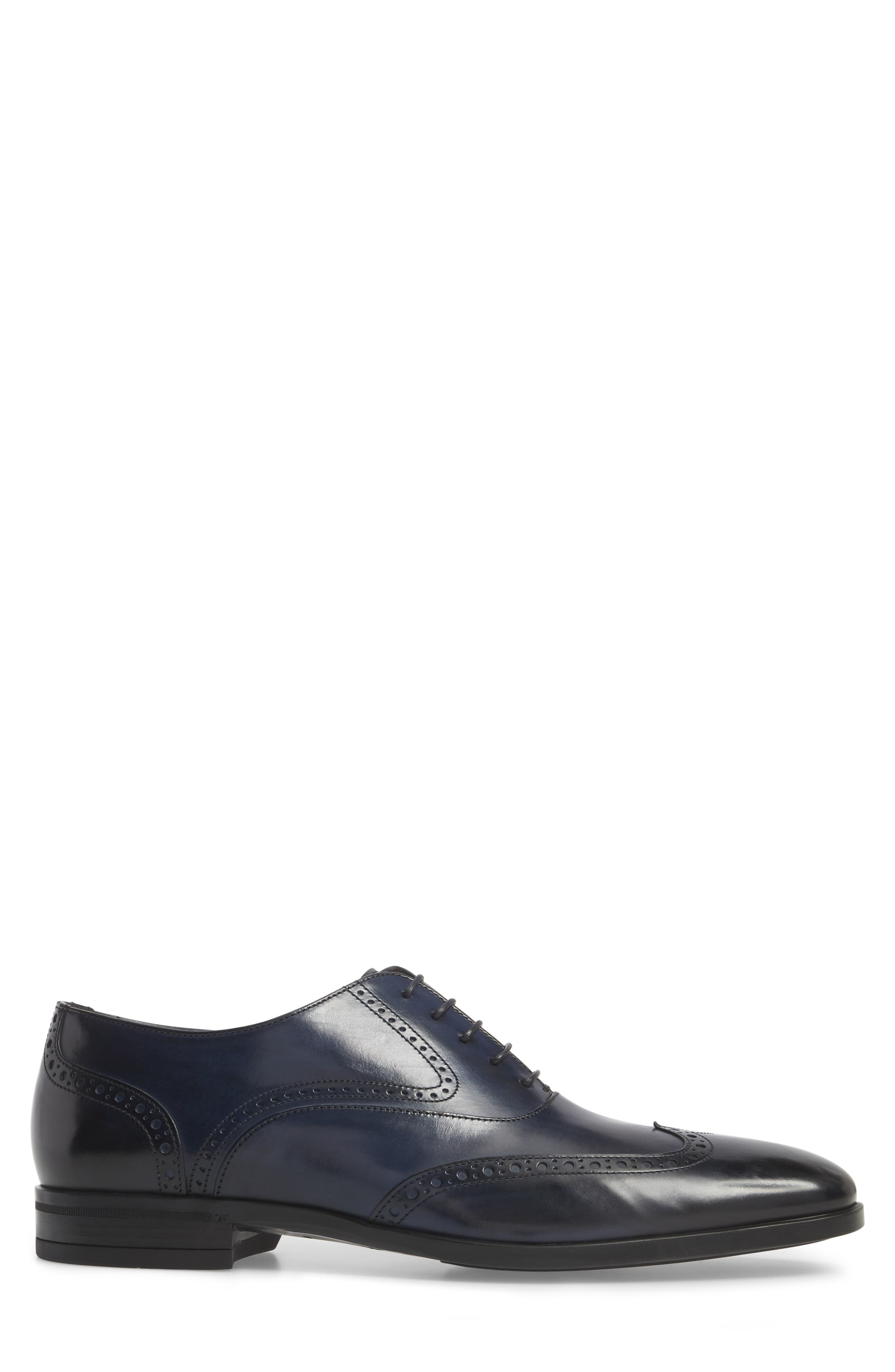 Portland Wingtip,                             Alternate thumbnail 3, color,                             Dark Blue Leather