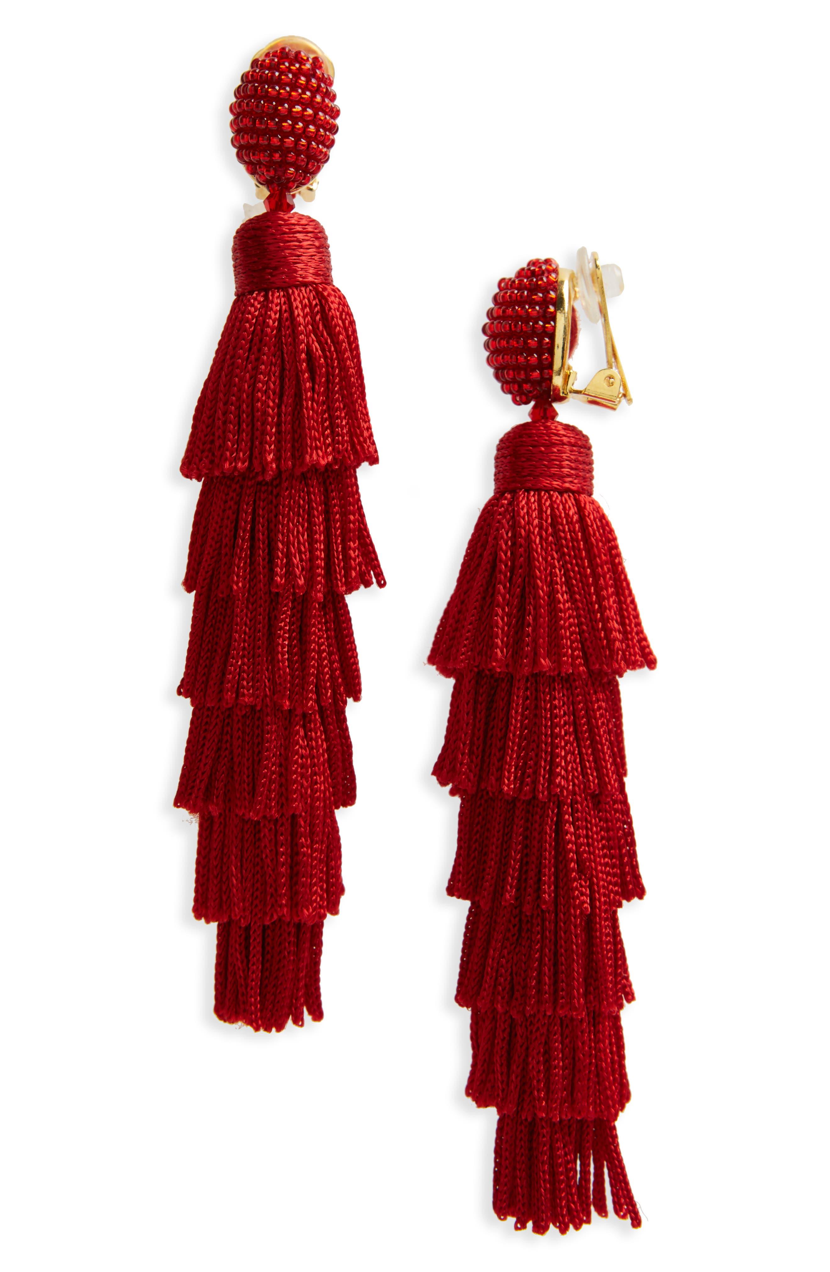 Alternate Image 1 Selected - Oscar de la Renta Tassel Clip Earrings