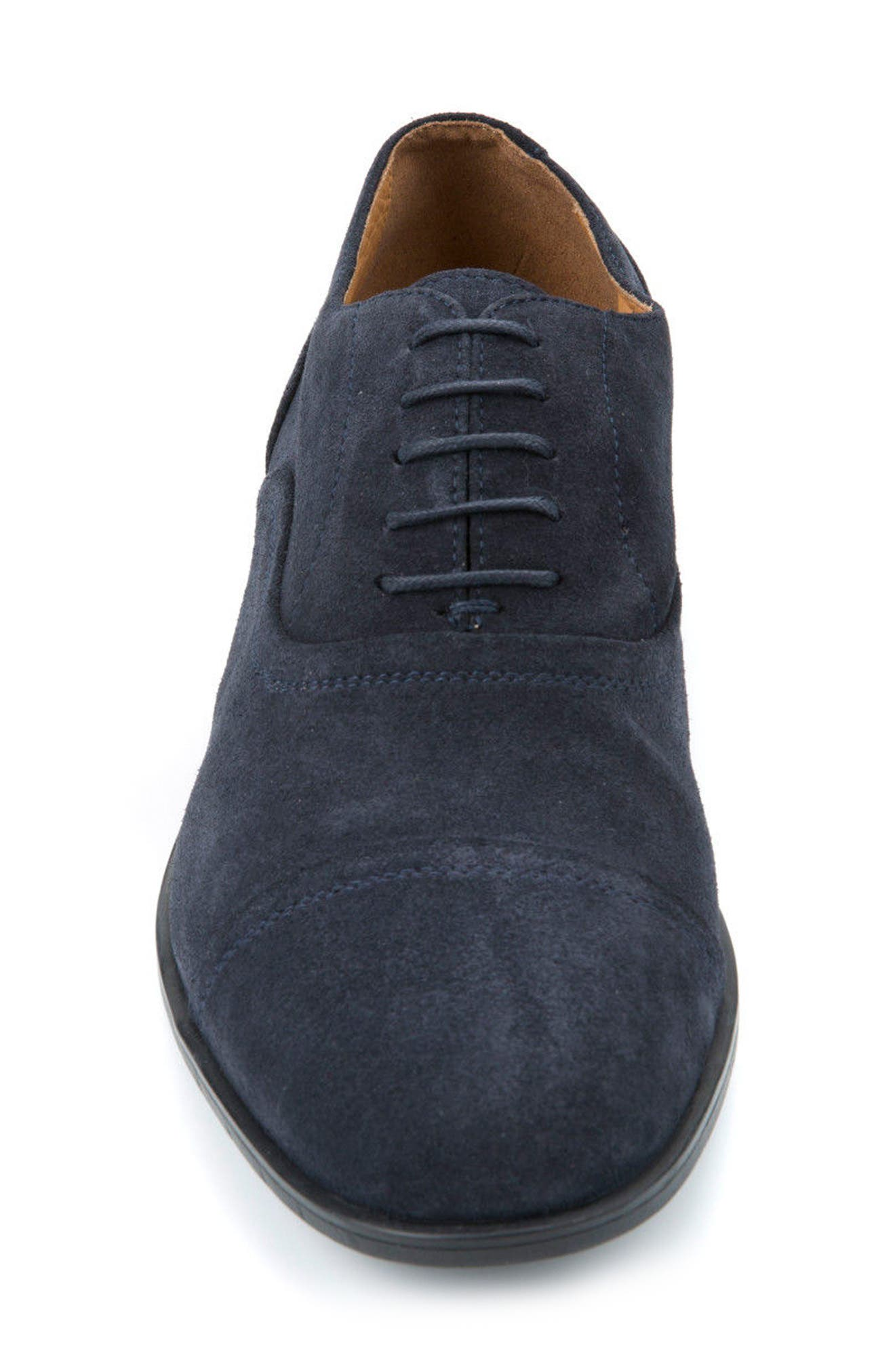 Bryceton 2 Cap Toe Oxford,                             Alternate thumbnail 4, color,                             Navy Suede